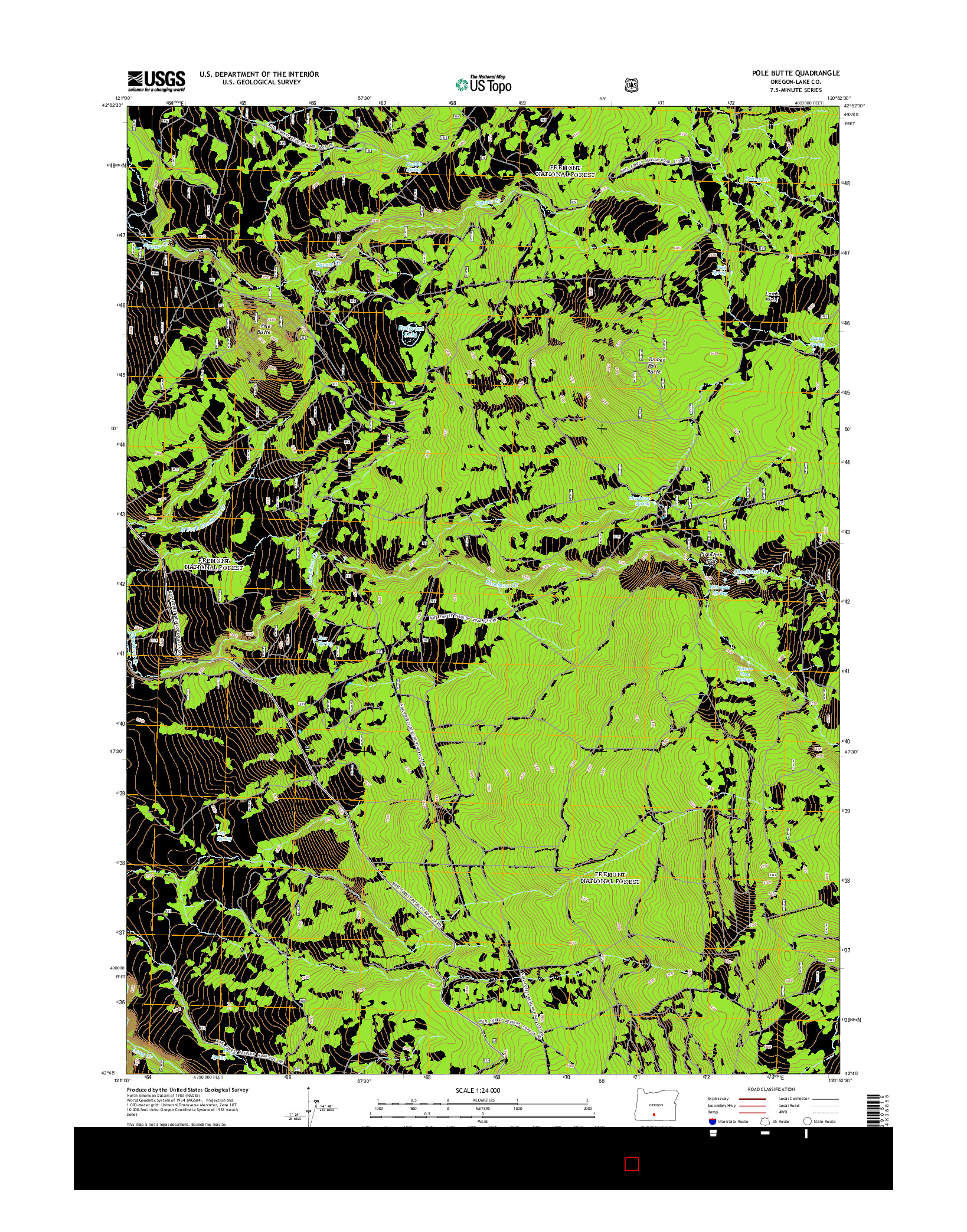 USGS US TOPO 7.5-MINUTE MAP FOR POLE BUTTE, OR 2014
