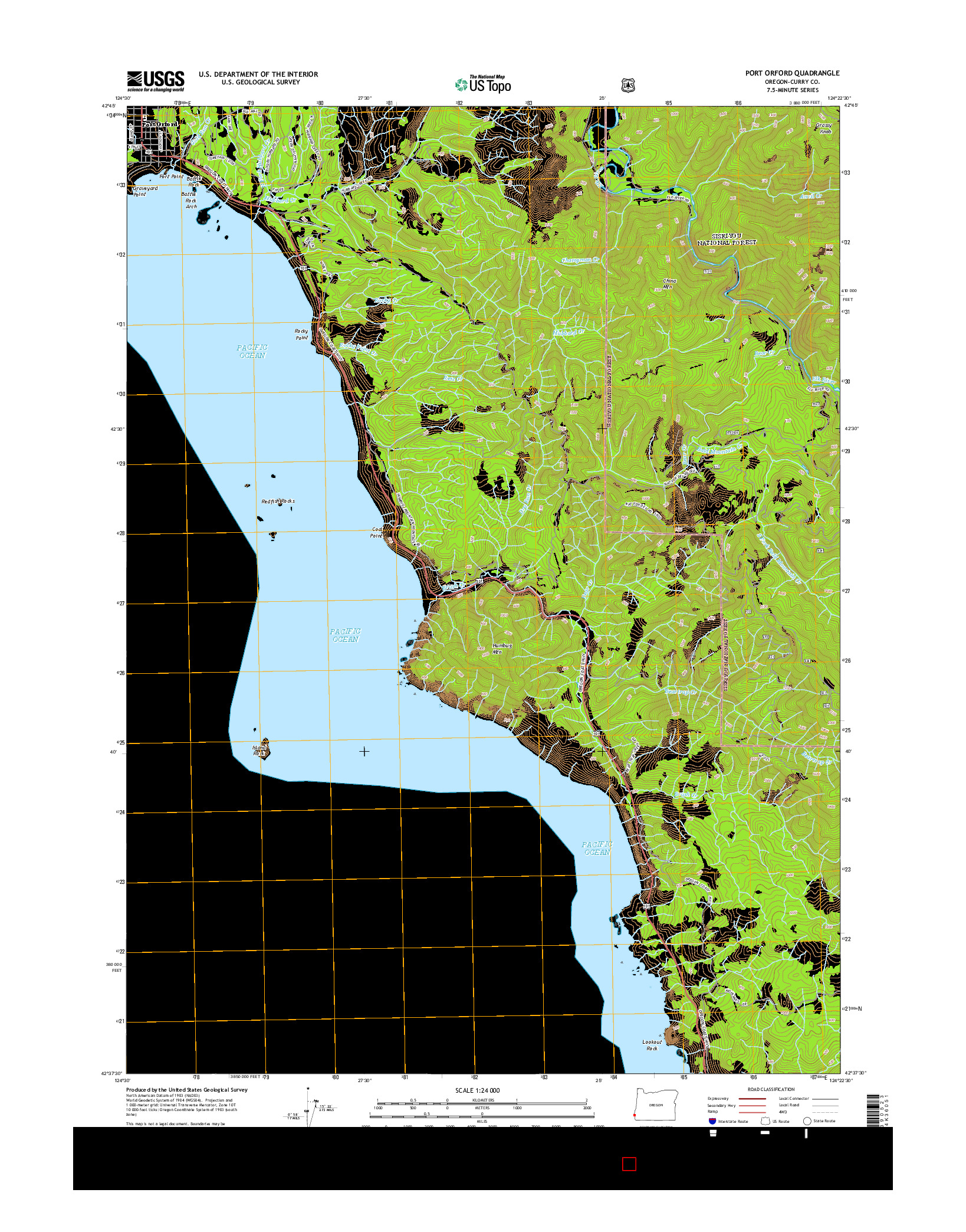 USGS US TOPO 7.5-MINUTE MAP FOR PORT ORFORD, OR 2014