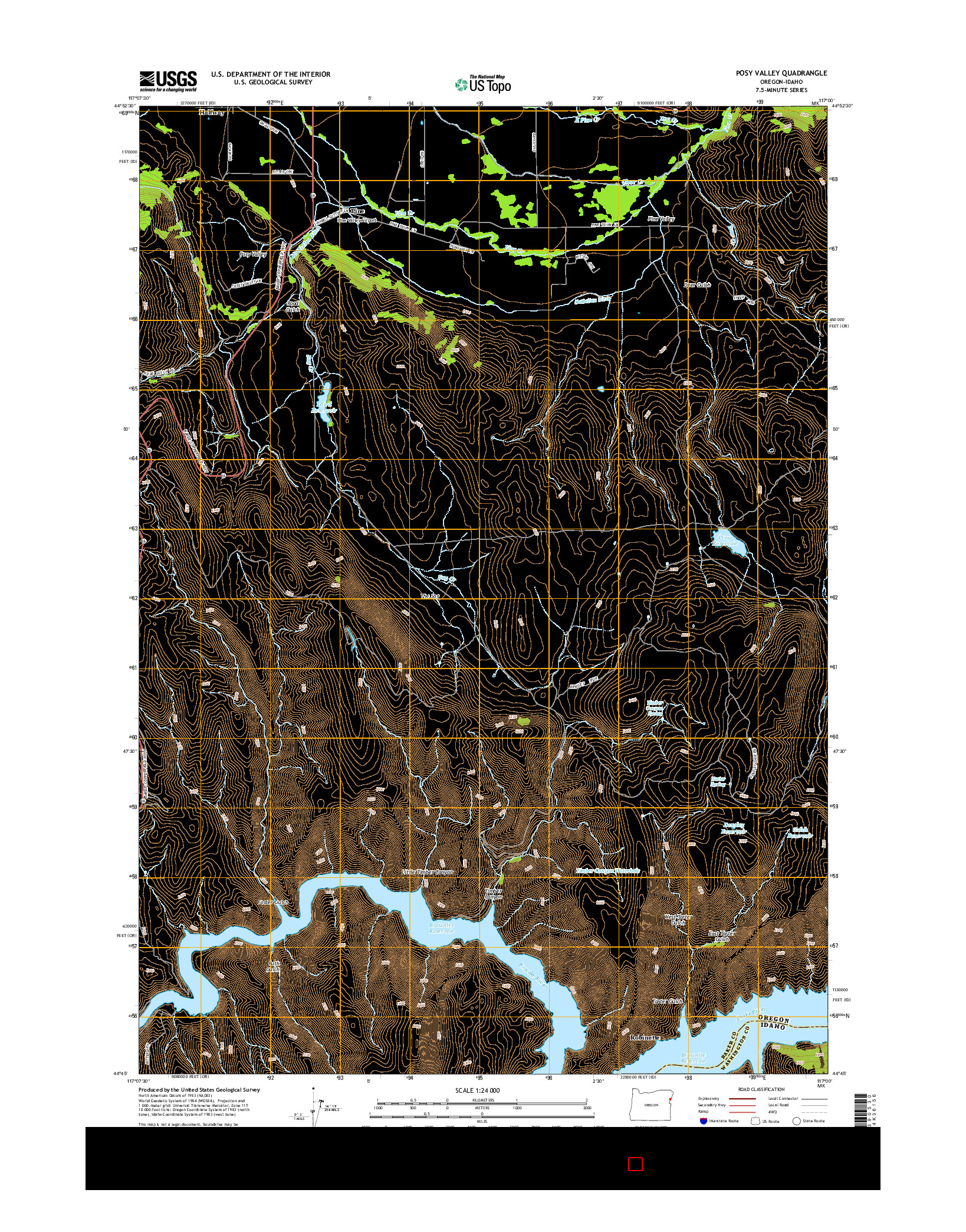 USGS US TOPO 7.5-MINUTE MAP FOR POSY VALLEY, OR-ID 2014