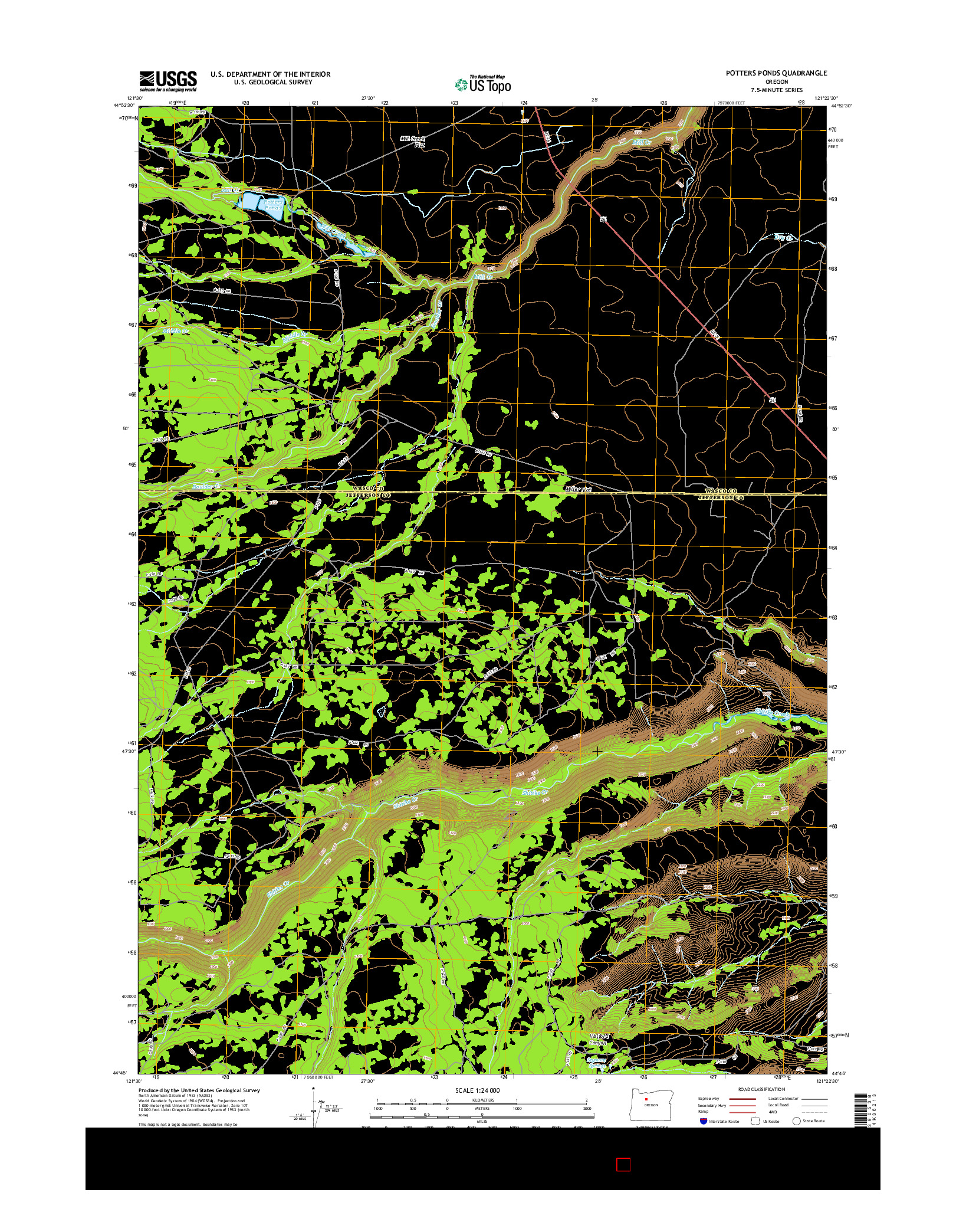 USGS US TOPO 7.5-MINUTE MAP FOR POTTERS PONDS, OR 2014