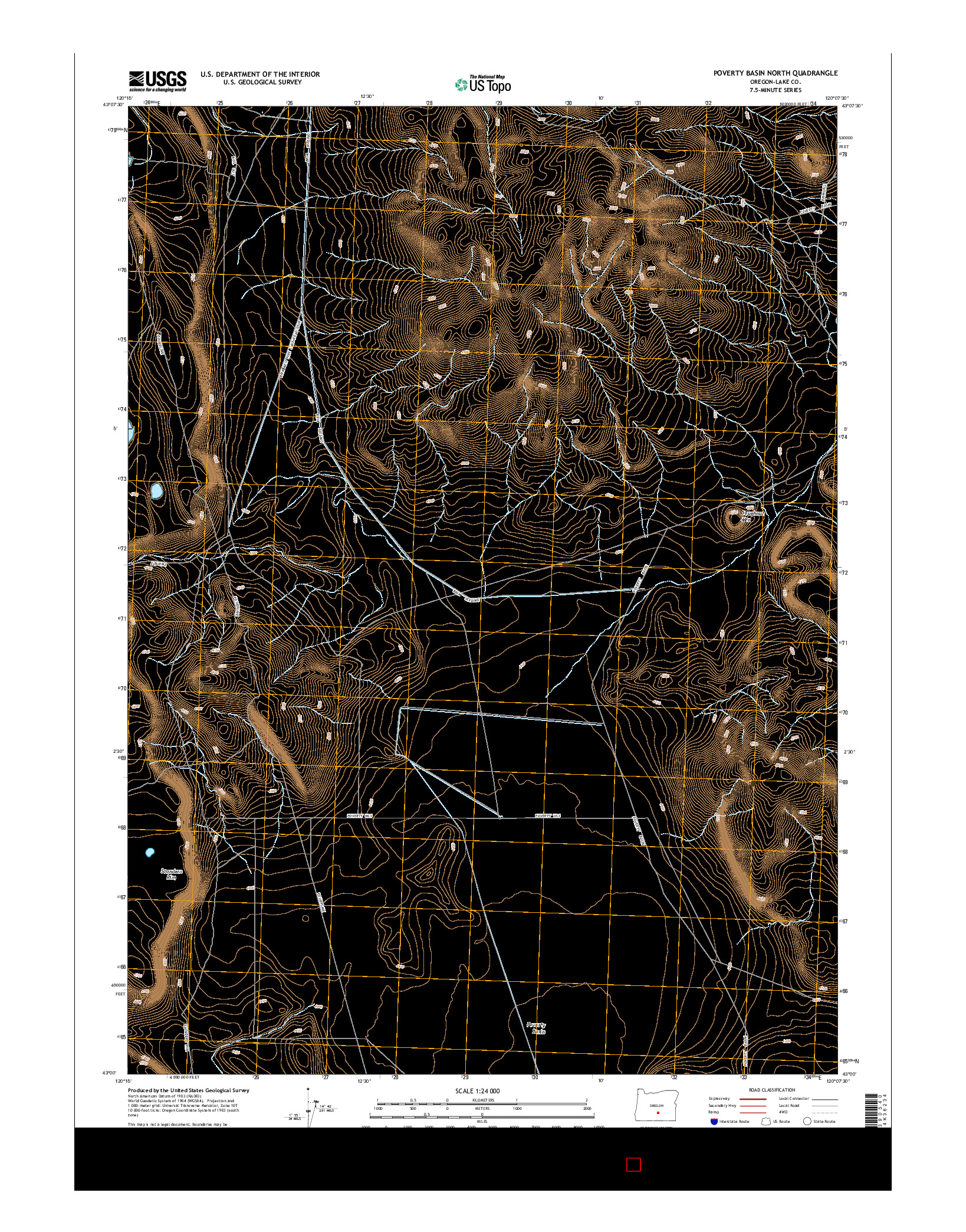 USGS US TOPO 7.5-MINUTE MAP FOR POVERTY BASIN NORTH, OR 2014