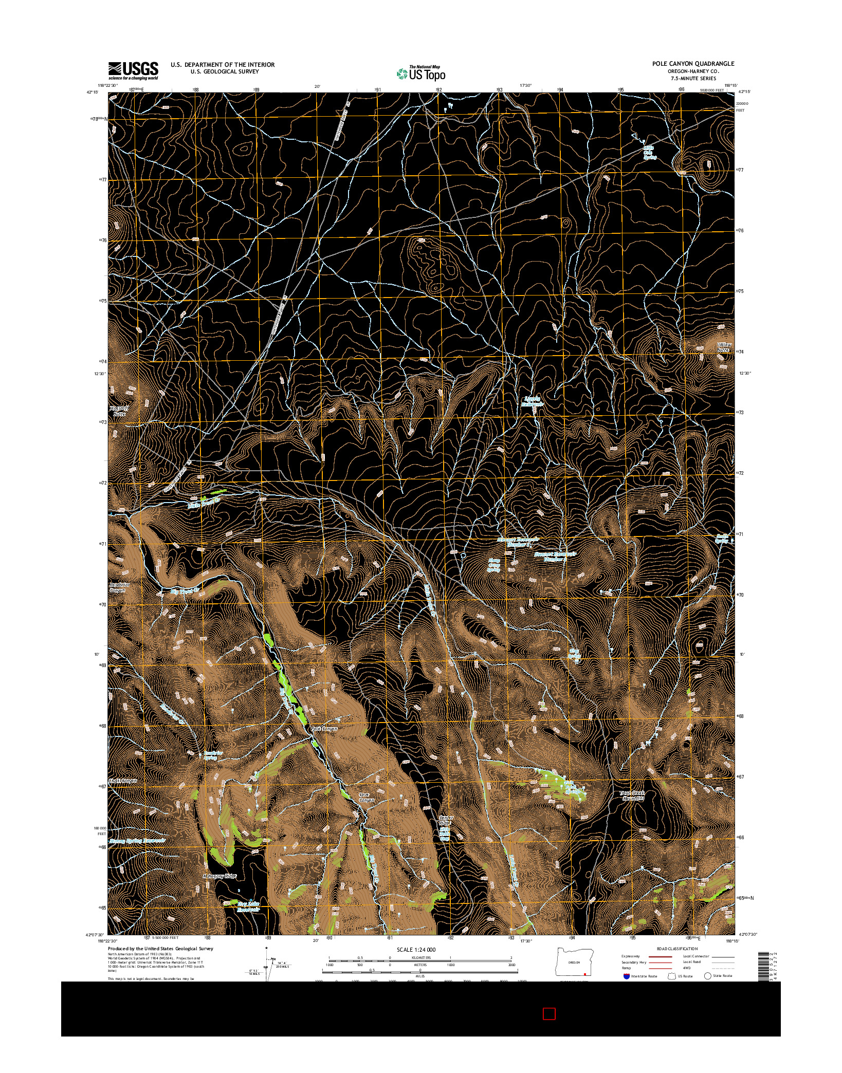 USGS US TOPO 7.5-MINUTE MAP FOR POLE CANYON, OR 2014