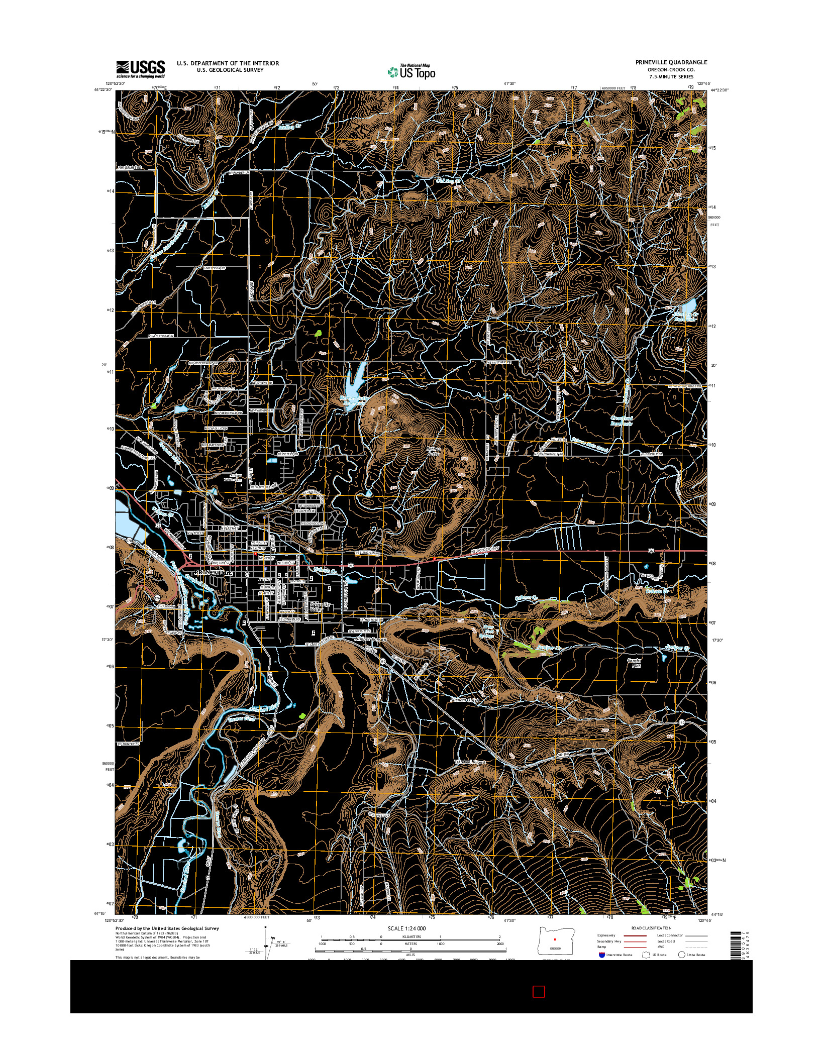 USGS US TOPO 7.5-MINUTE MAP FOR PRINEVILLE, OR 2014
