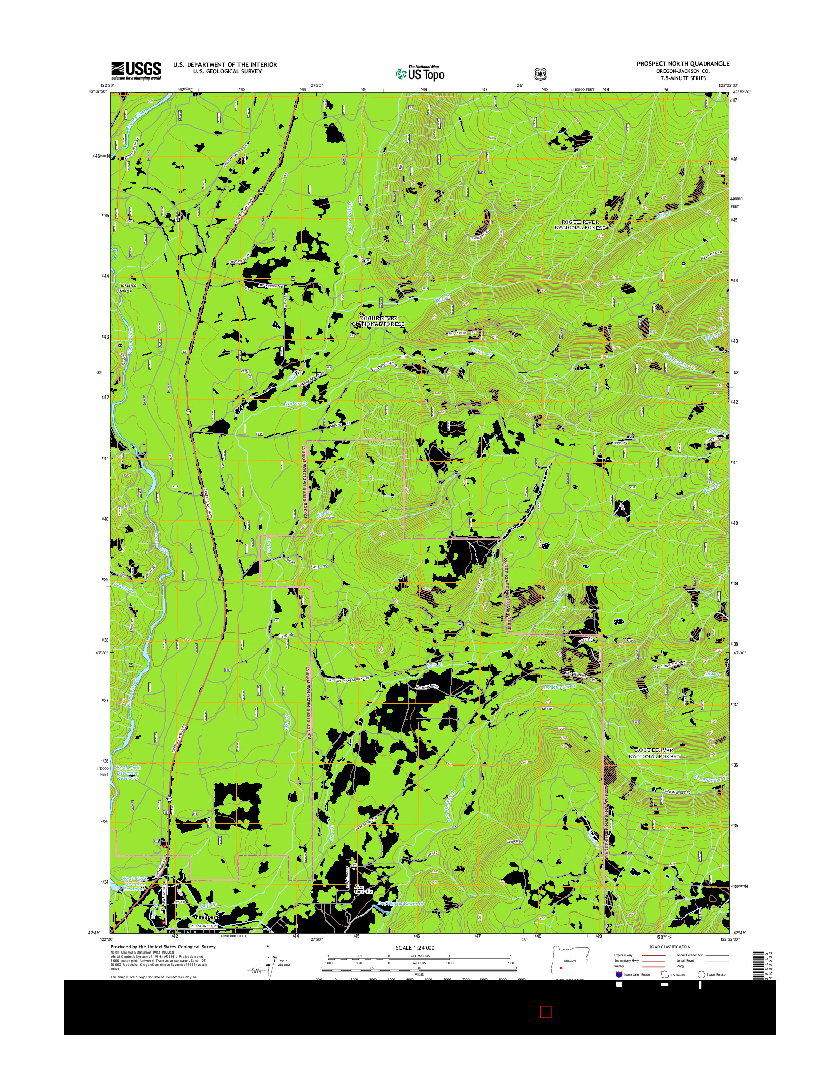 USGS US TOPO 7.5-MINUTE MAP FOR PROSPECT NORTH, OR 2014