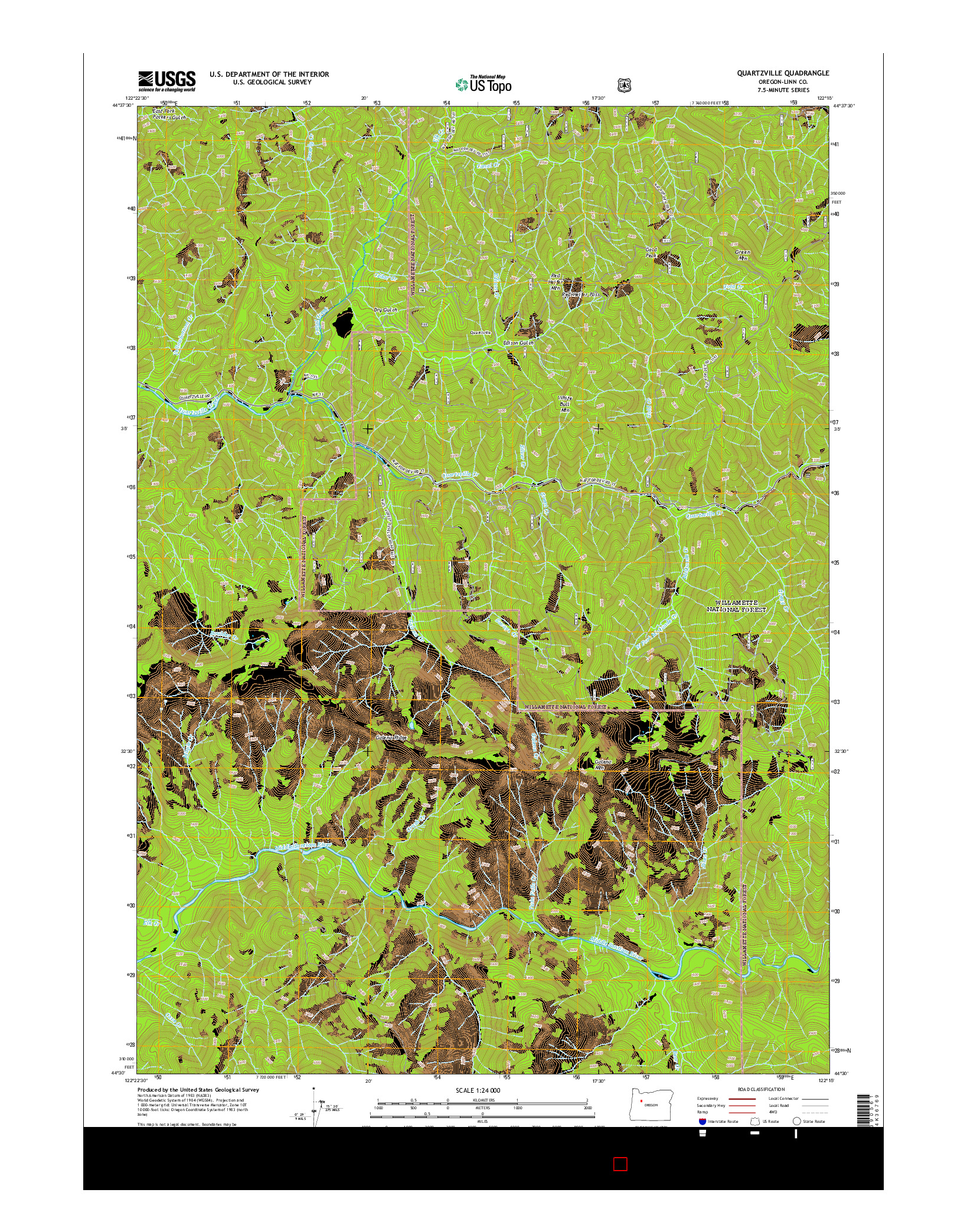 USGS US TOPO 7.5-MINUTE MAP FOR QUARTZVILLE, OR 2014