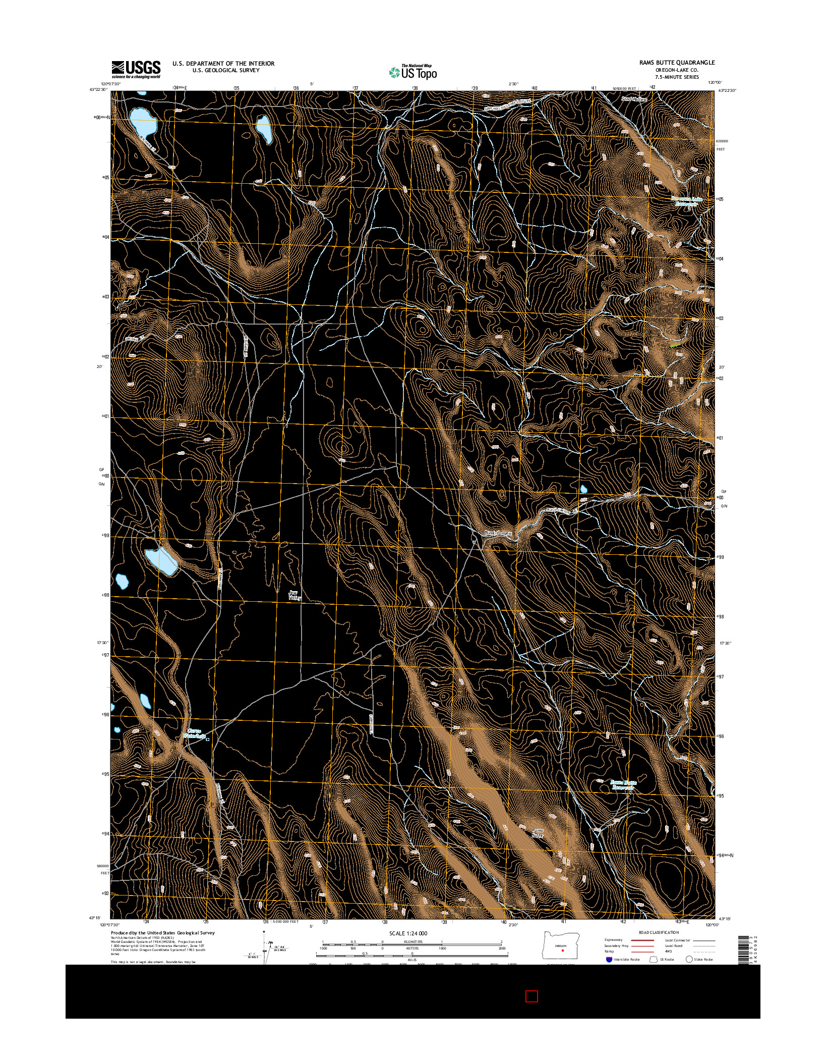 USGS US TOPO 7.5-MINUTE MAP FOR RAMS BUTTE, OR 2014