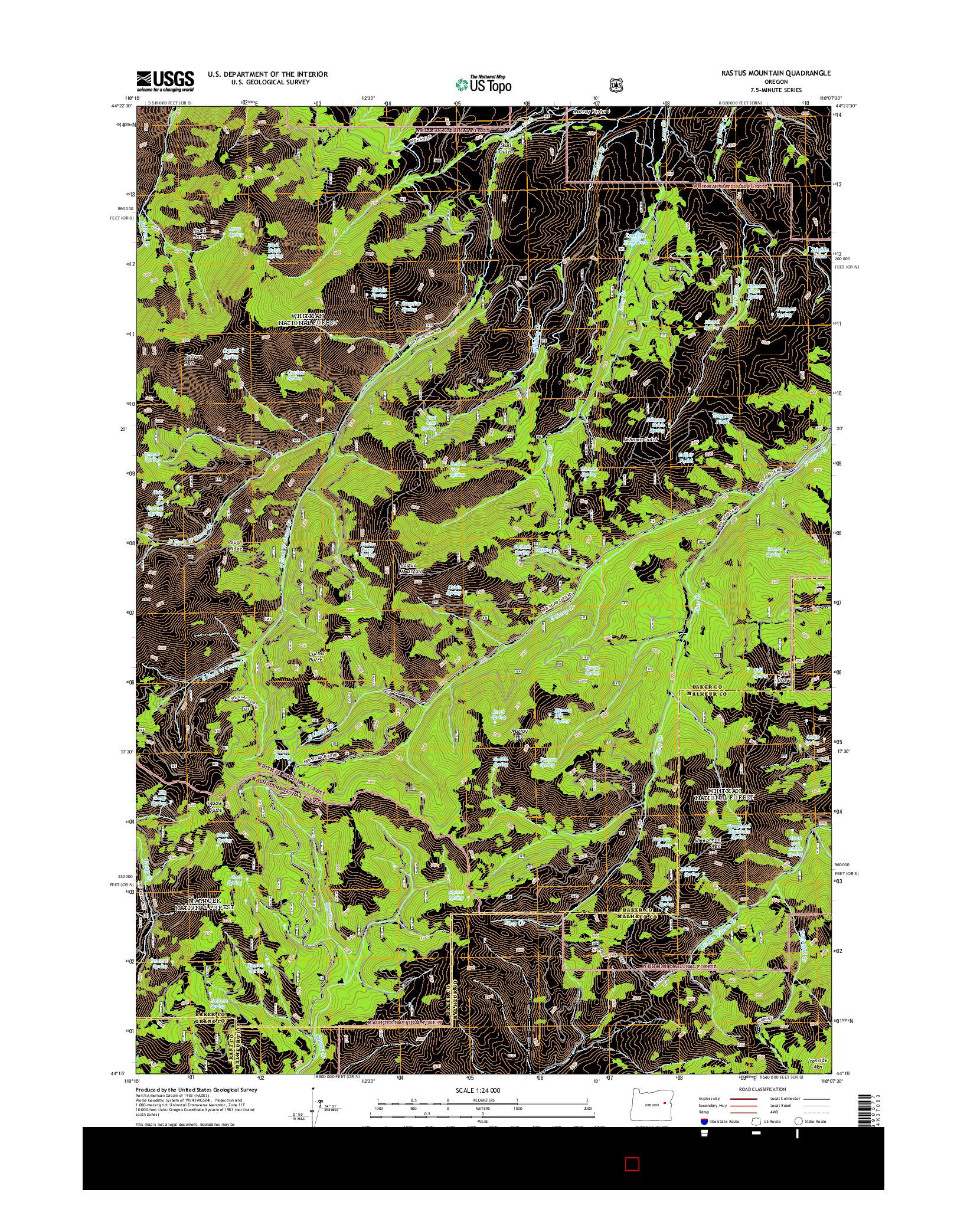 USGS US TOPO 7.5-MINUTE MAP FOR RASTUS MOUNTAIN, OR 2014