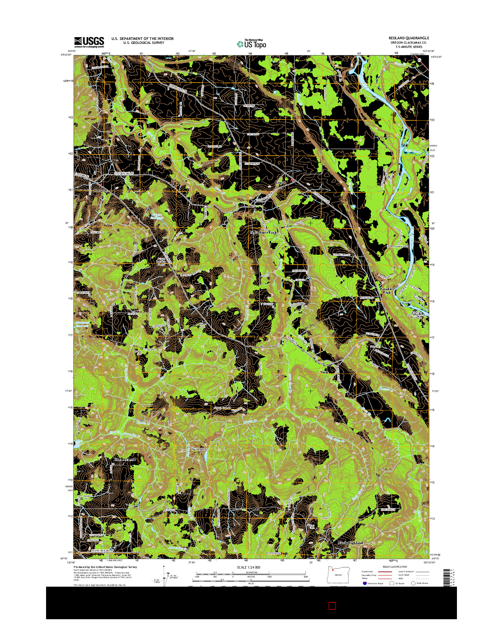 USGS US TOPO 7.5-MINUTE MAP FOR REDLAND, OR 2014