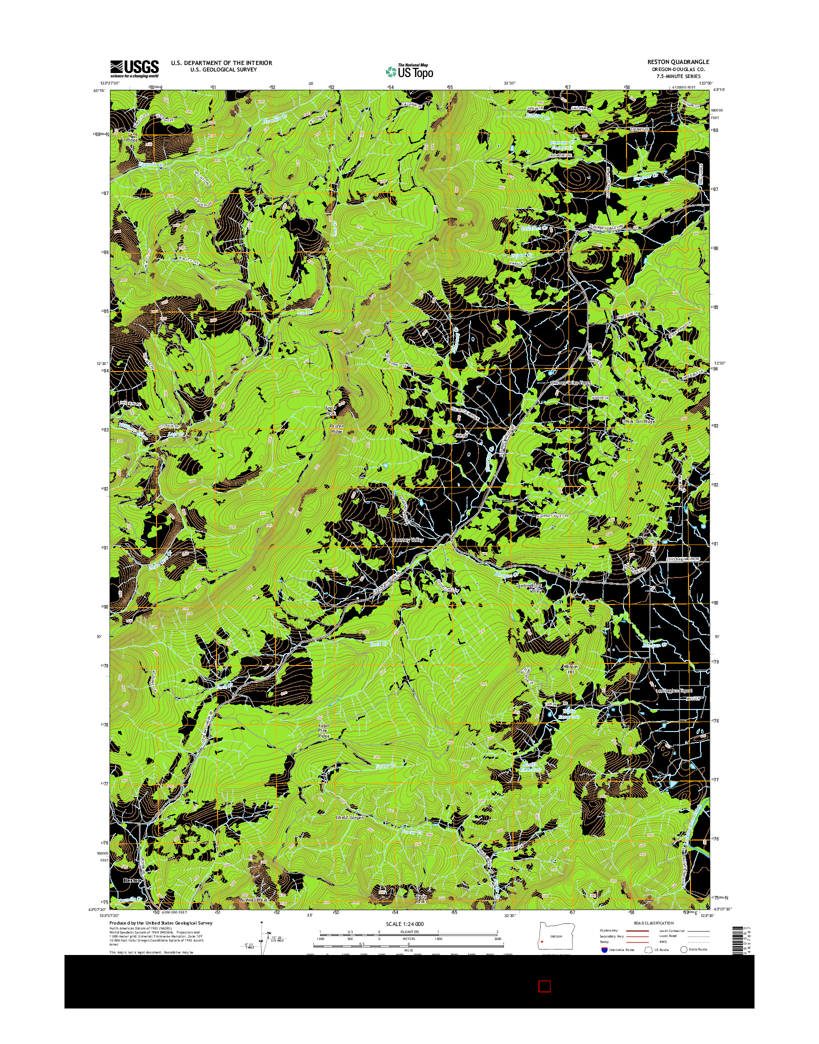 USGS US TOPO 7.5-MINUTE MAP FOR RESTON, OR 2014