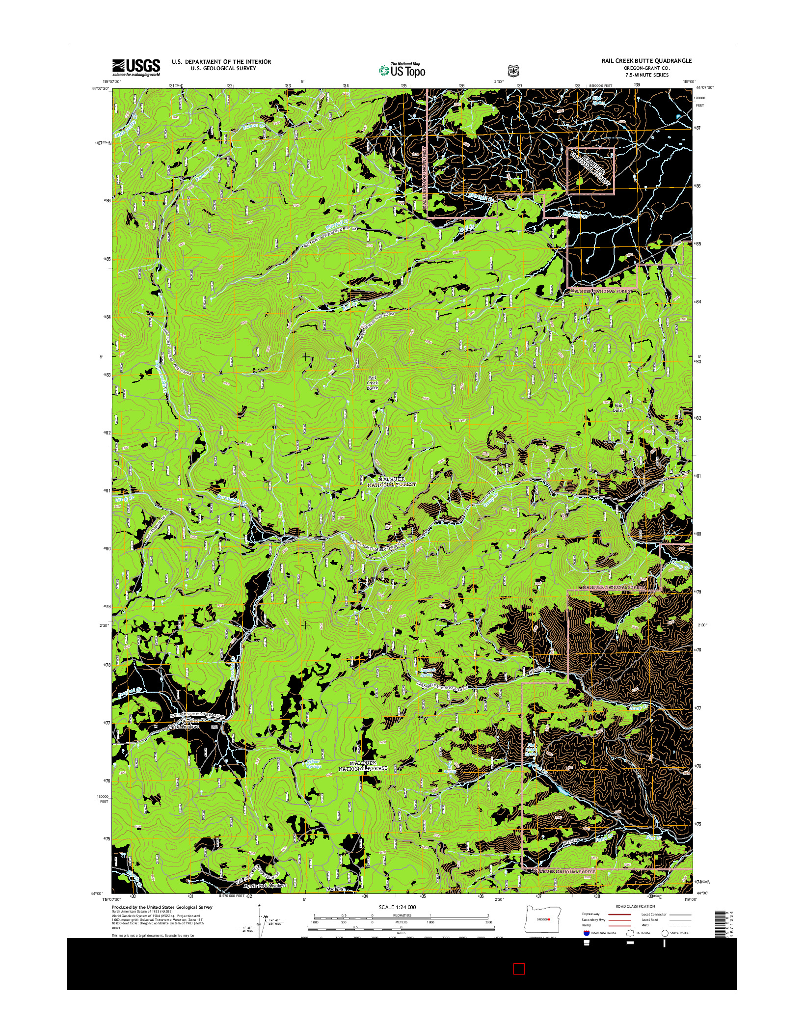 USGS US TOPO 7.5-MINUTE MAP FOR RAIL CREEK BUTTE, OR 2014