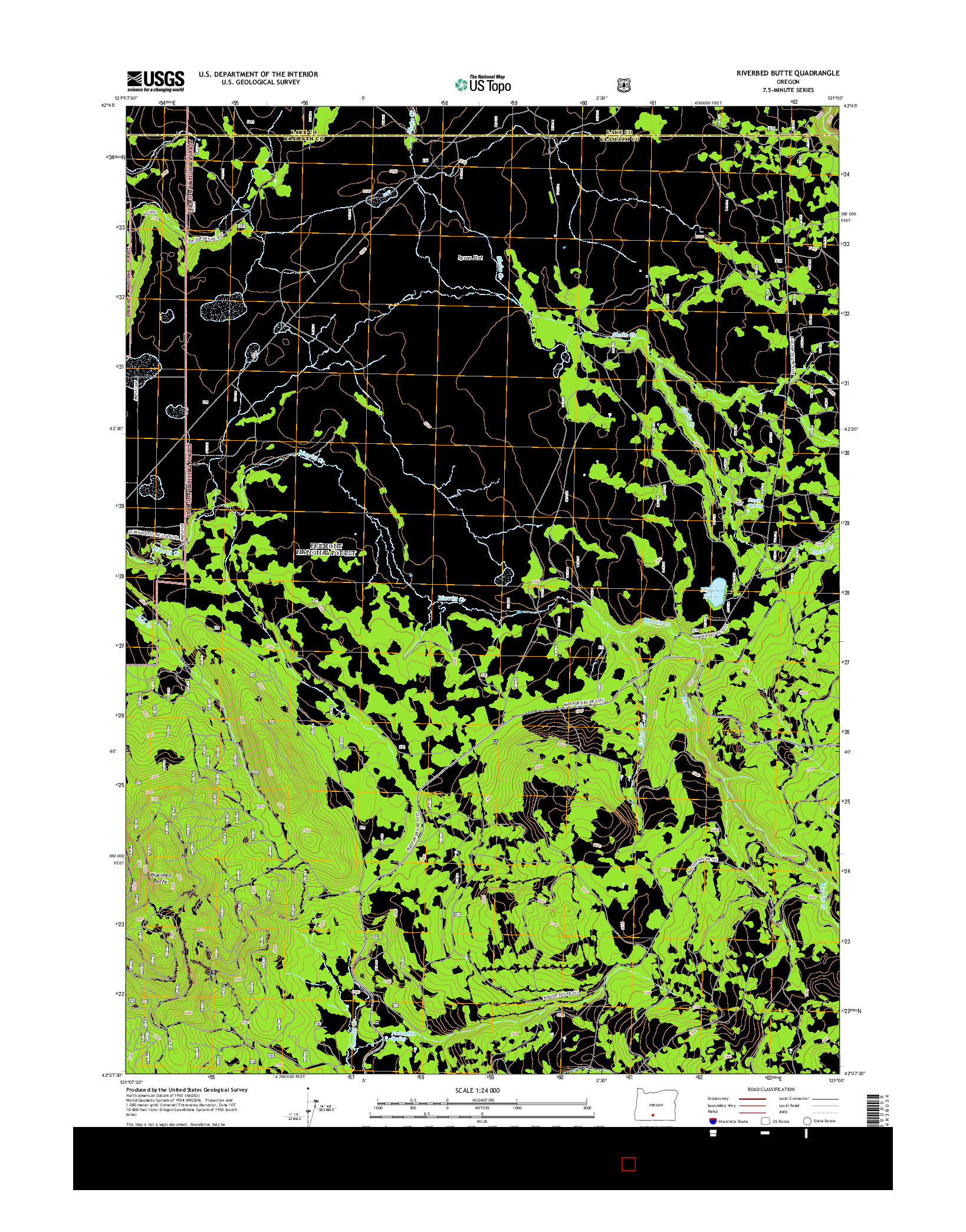 USGS US TOPO 7.5-MINUTE MAP FOR RIVERBED BUTTE, OR 2014
