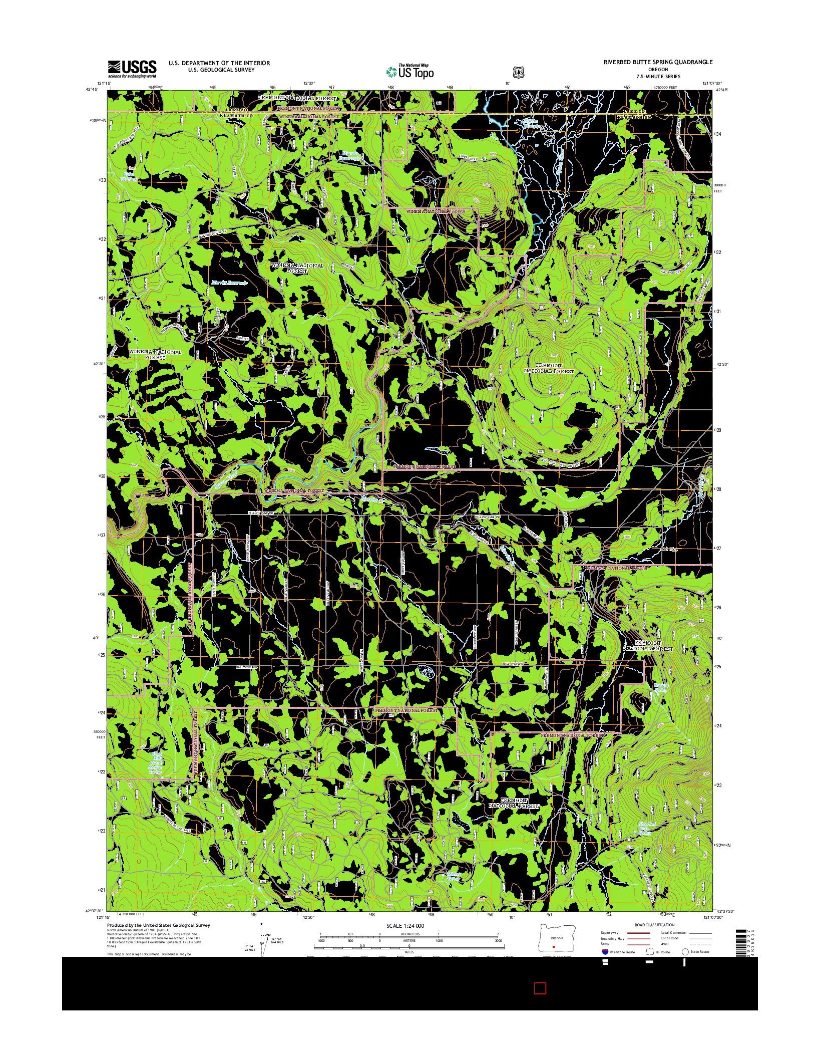 USGS US TOPO 7.5-MINUTE MAP FOR RIVERBED BUTTE SPRING, OR 2014