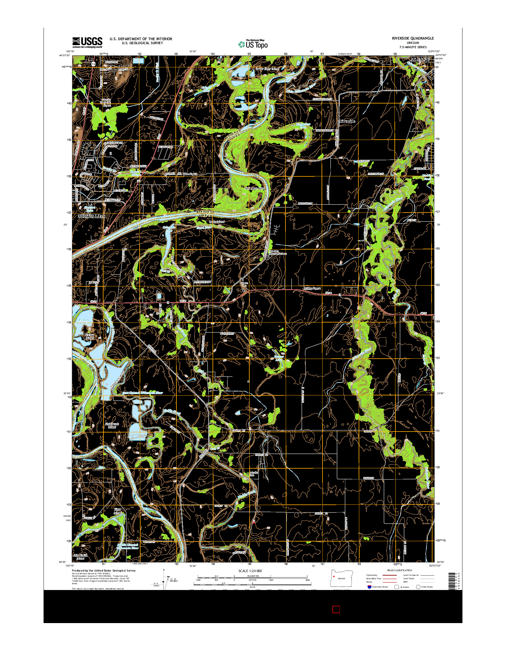 USGS US TOPO 7.5-MINUTE MAP FOR RIVERSIDE, OR 2014