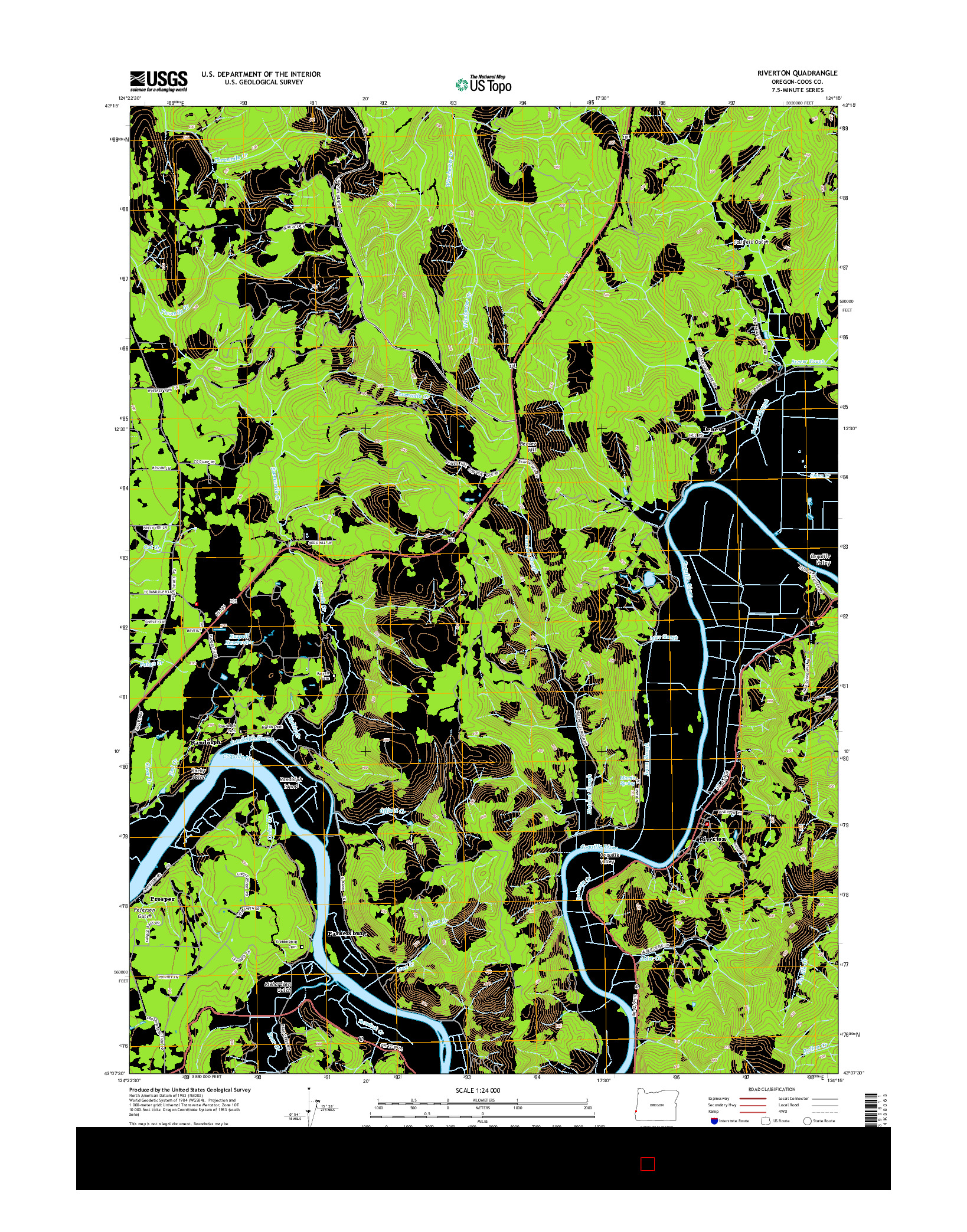 USGS US TOPO 7.5-MINUTE MAP FOR RIVERTON, OR 2014