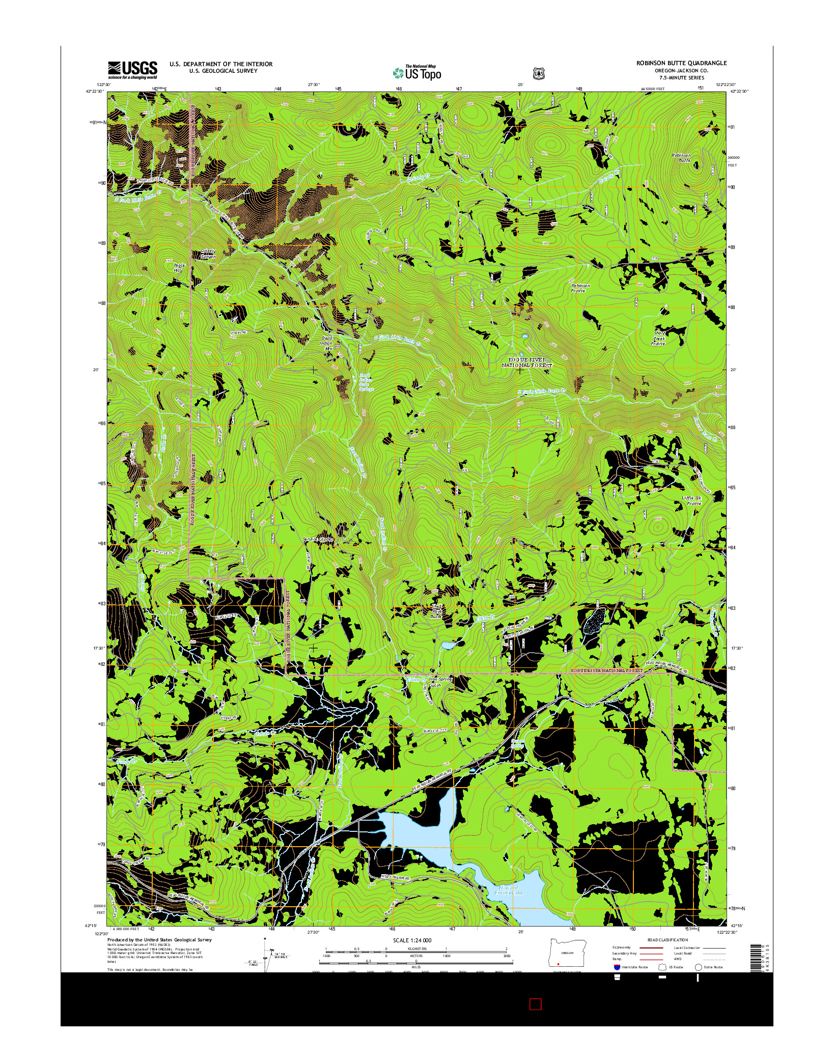 USGS US TOPO 7.5-MINUTE MAP FOR ROBINSON BUTTE, OR 2014