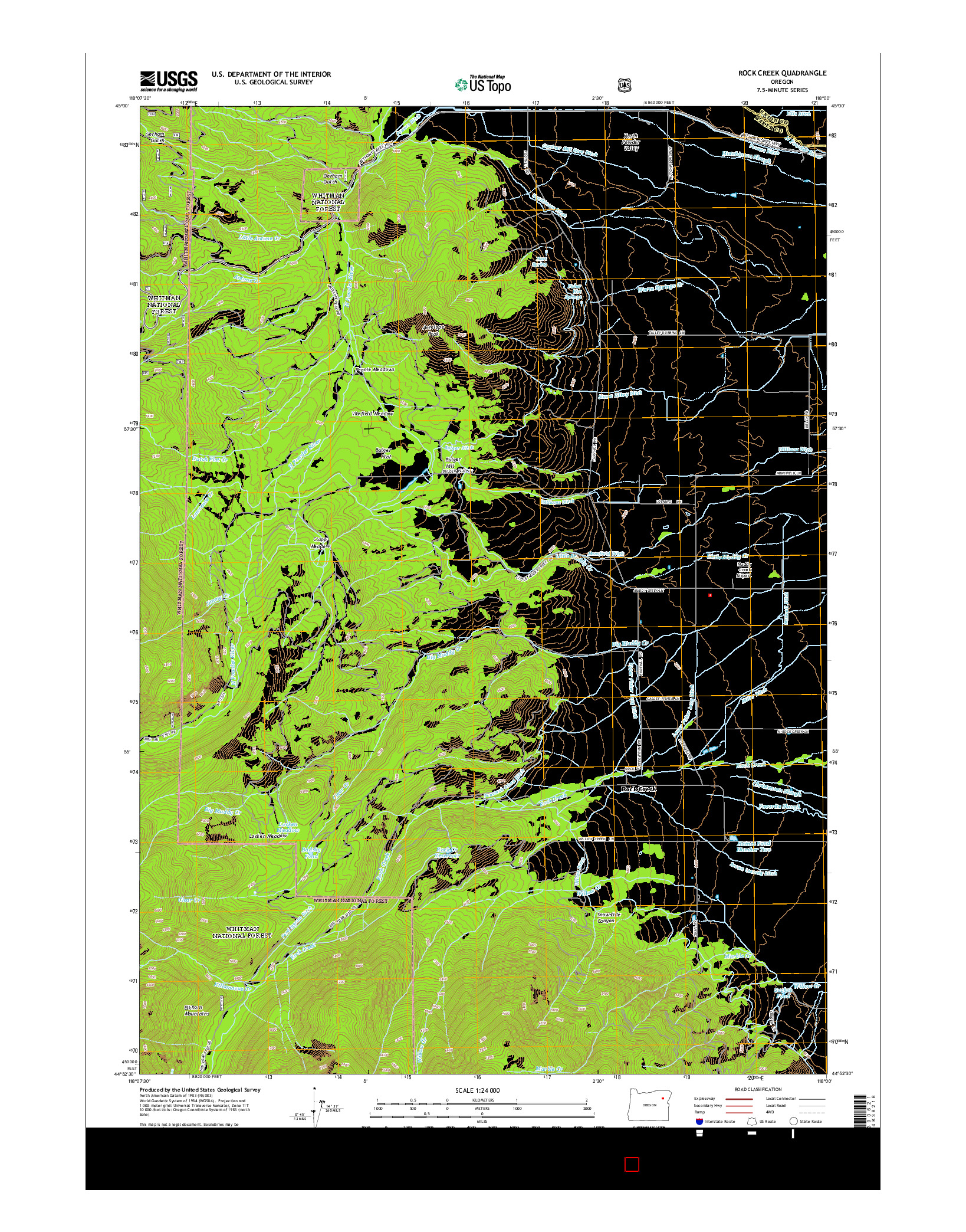 USGS US TOPO 7.5-MINUTE MAP FOR ROCK CREEK, OR 2014