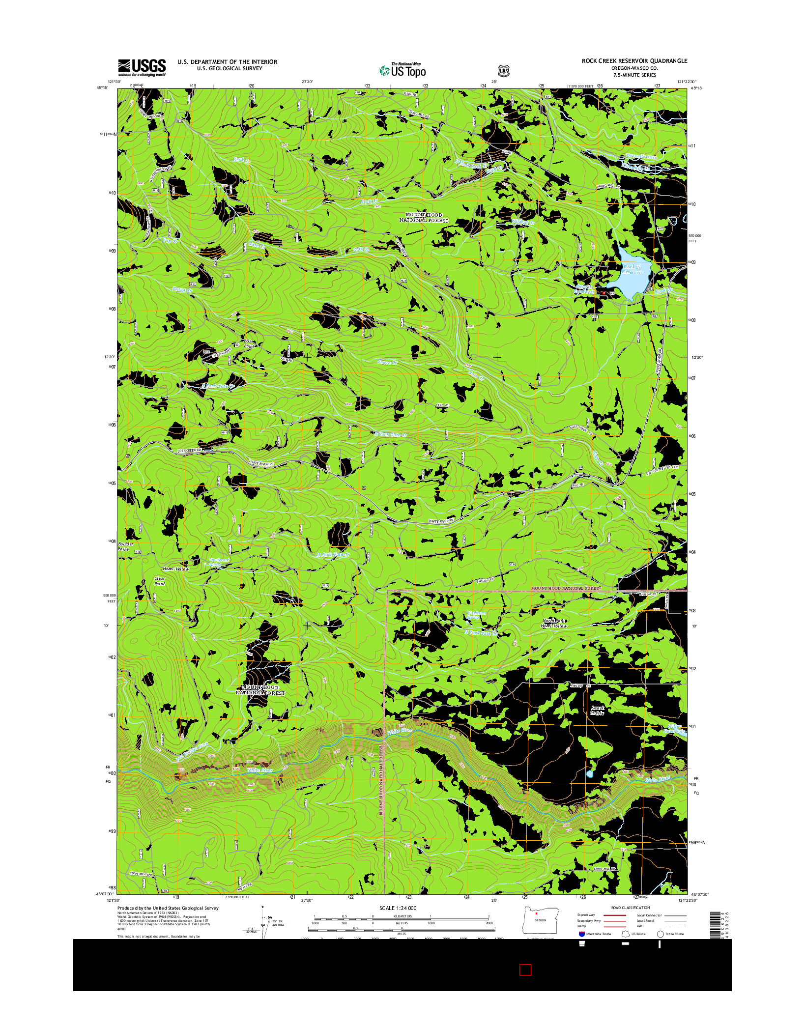USGS US TOPO 7.5-MINUTE MAP FOR ROCK CREEK RESERVOIR, OR 2014