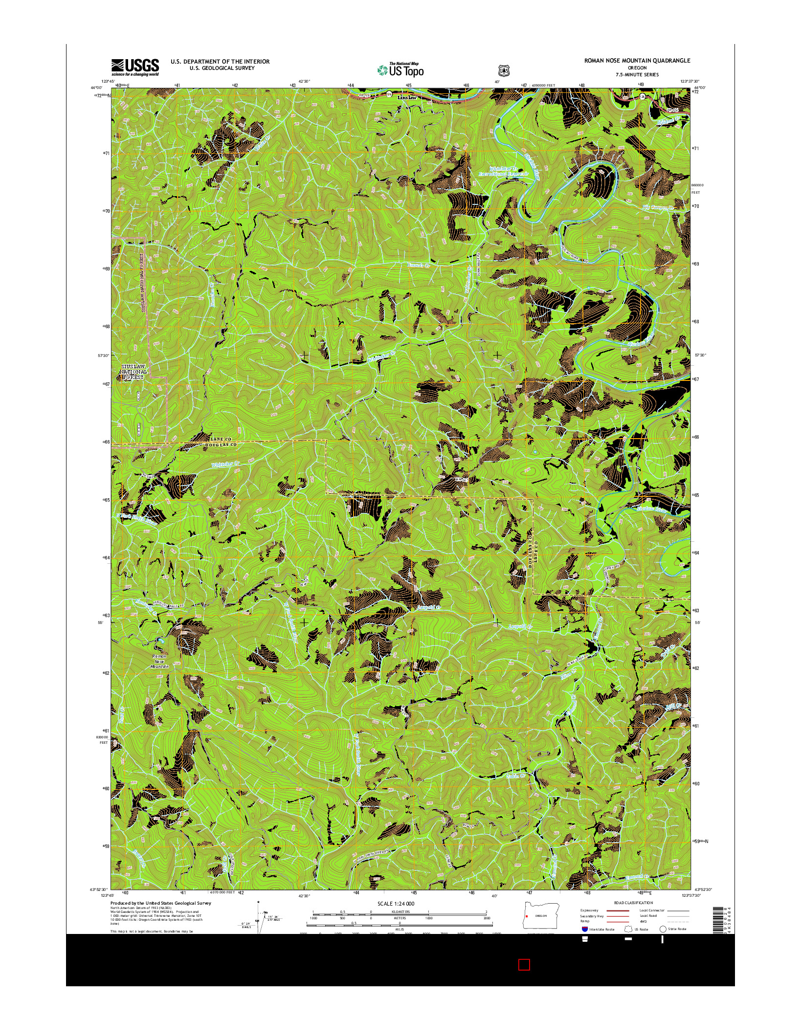 USGS US TOPO 7.5-MINUTE MAP FOR ROMAN NOSE MOUNTAIN, OR 2014