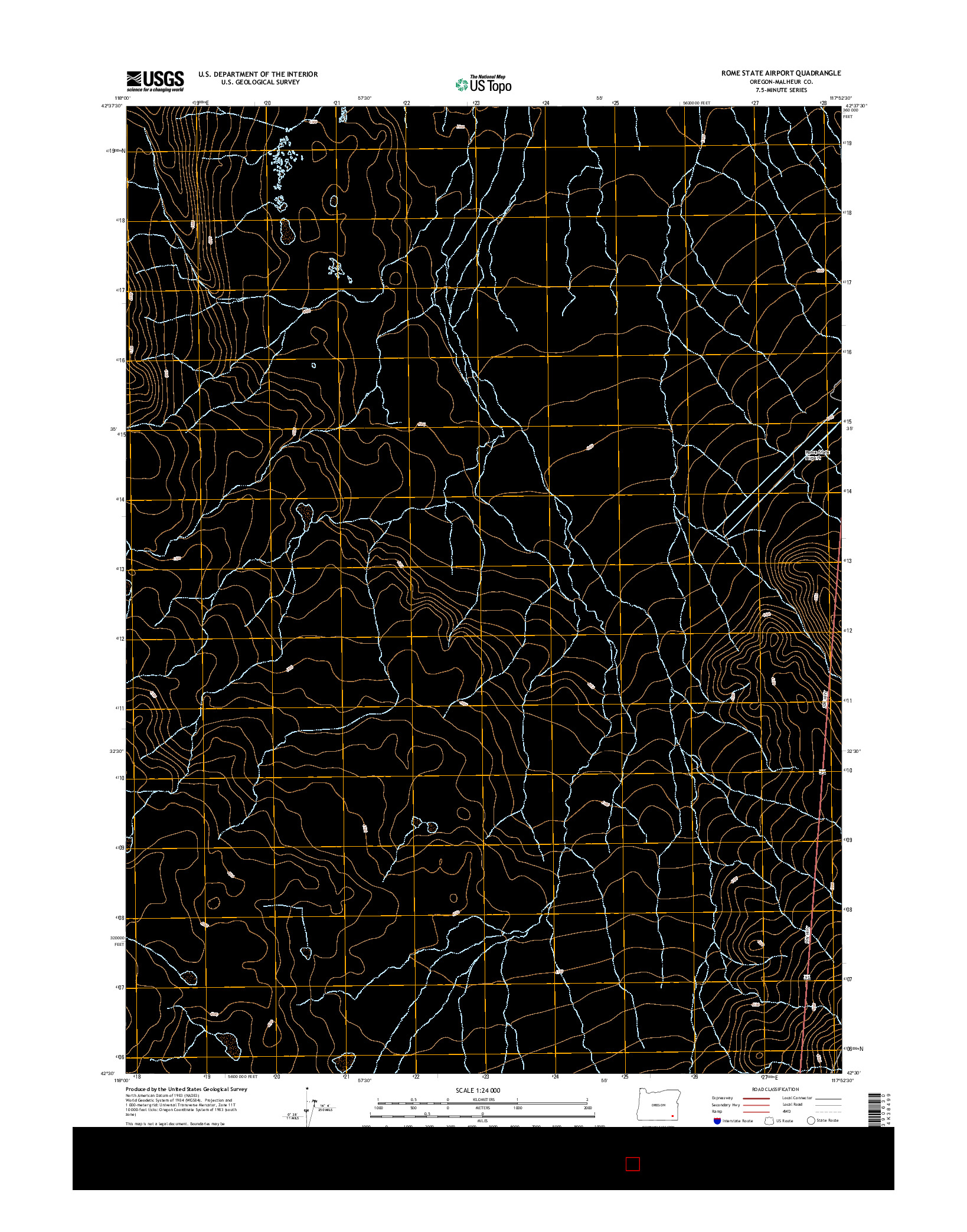 USGS US TOPO 7.5-MINUTE MAP FOR ROME STATE AIRPORT, OR 2014