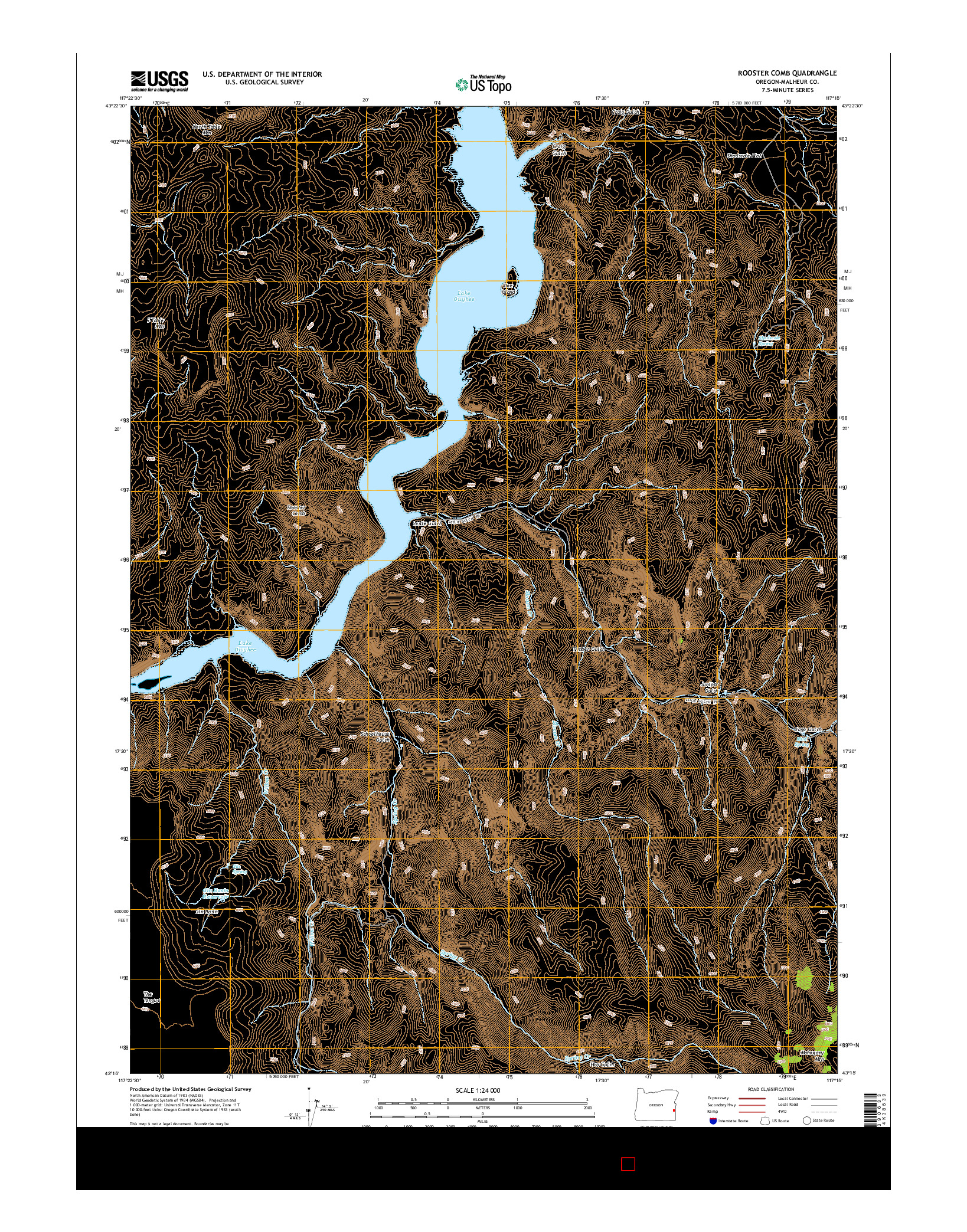 USGS US TOPO 7.5-MINUTE MAP FOR ROOSTER COMB, OR 2014