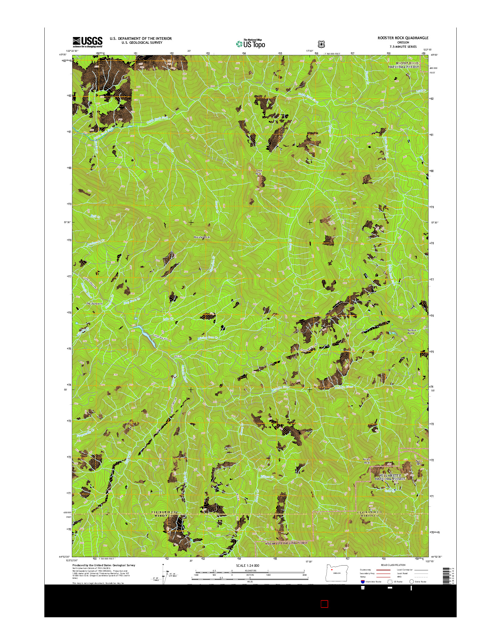 USGS US TOPO 7.5-MINUTE MAP FOR ROOSTER ROCK, OR 2014