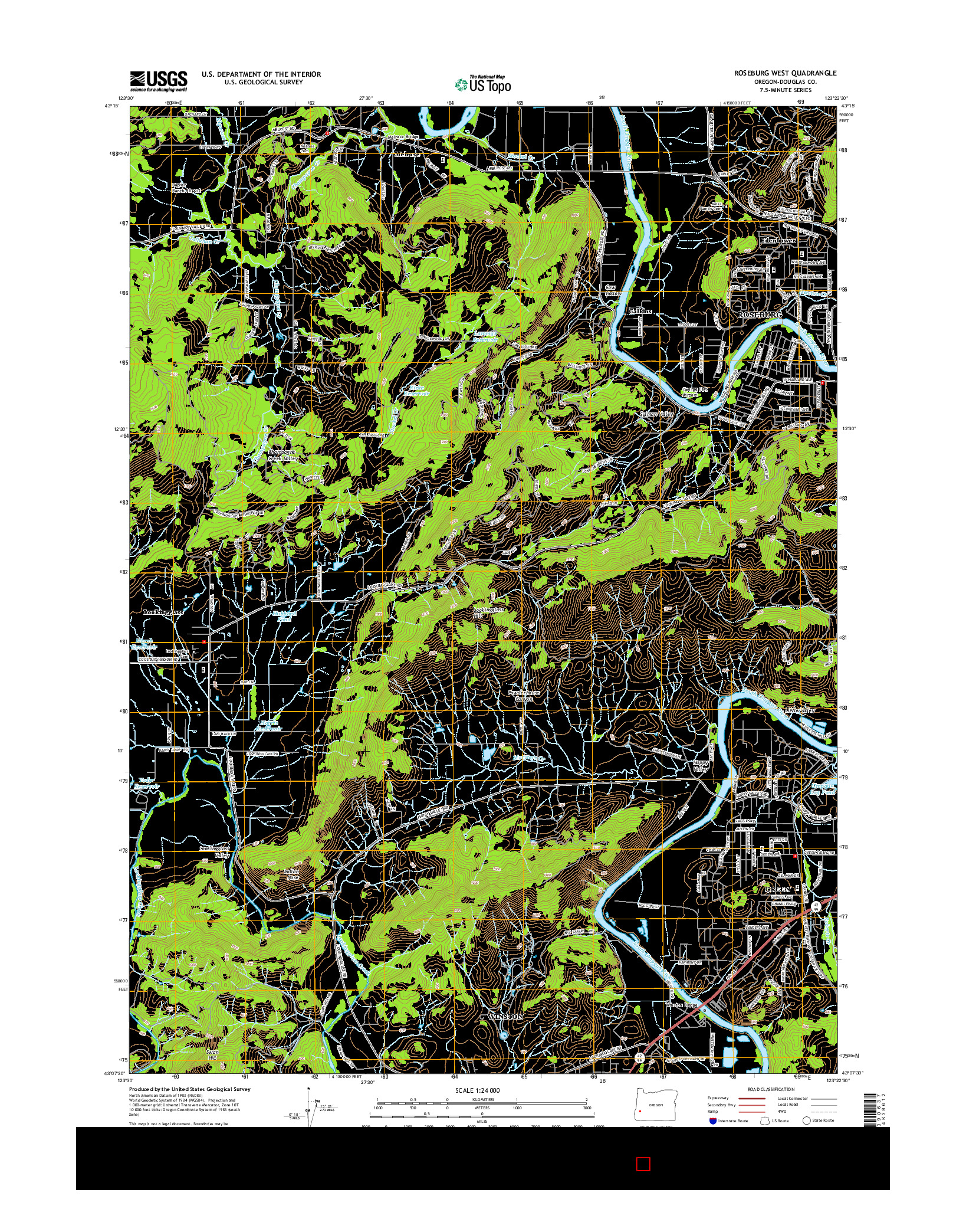 USGS US TOPO 7.5-MINUTE MAP FOR ROSEBURG WEST, OR 2014