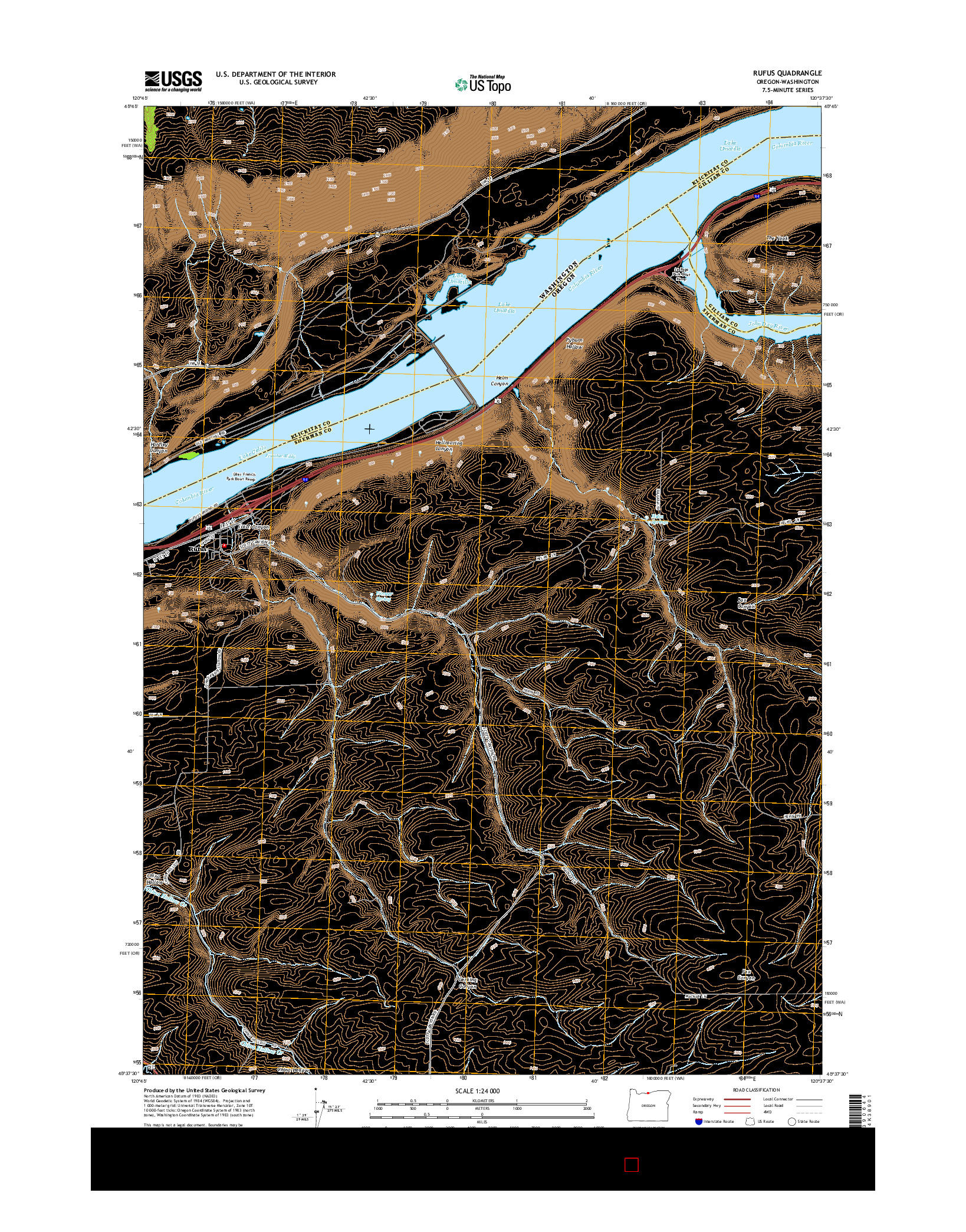 USGS US TOPO 7.5-MINUTE MAP FOR RUFUS, OR-WA 2014