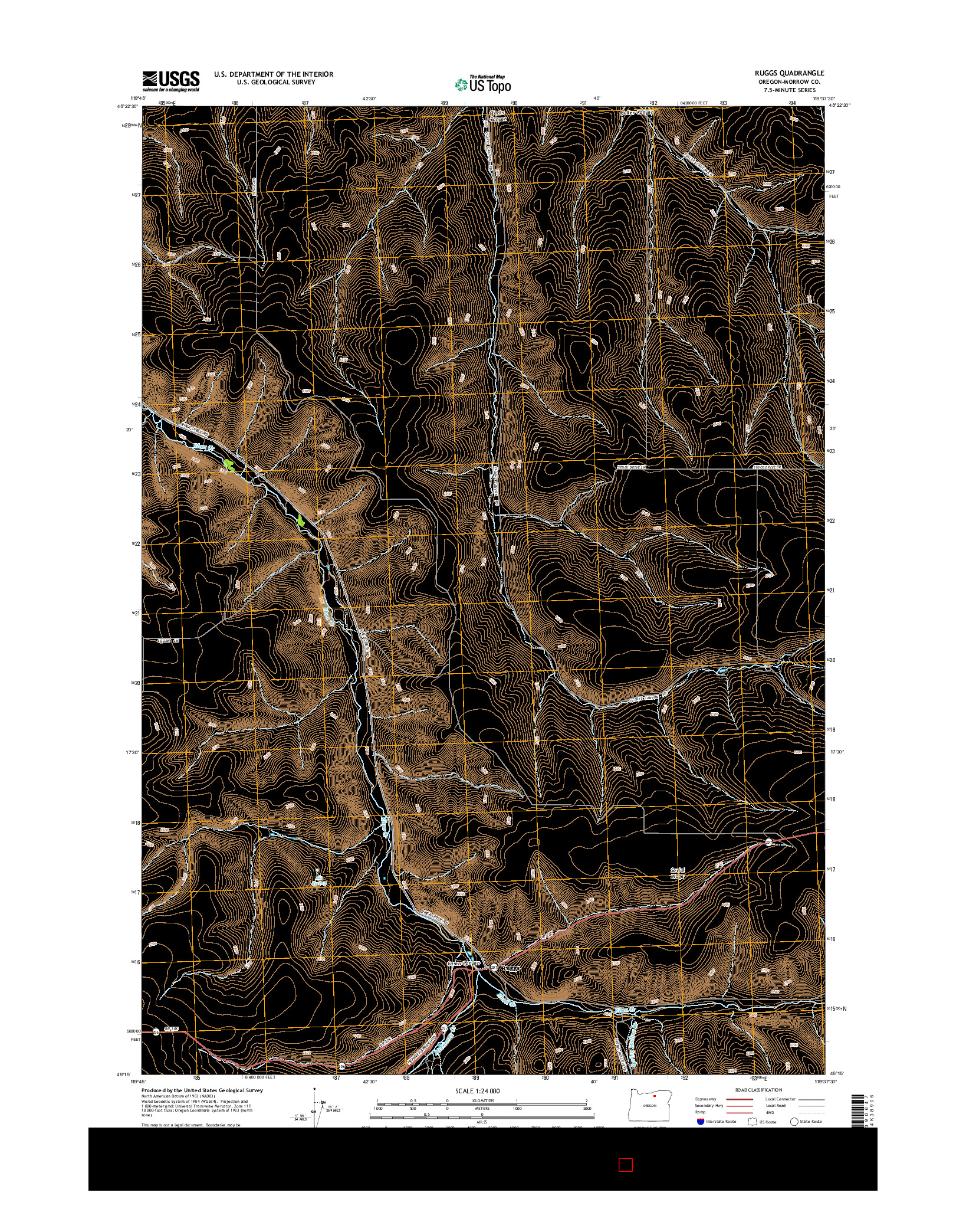 USGS US TOPO 7.5-MINUTE MAP FOR RUGGS, OR 2014