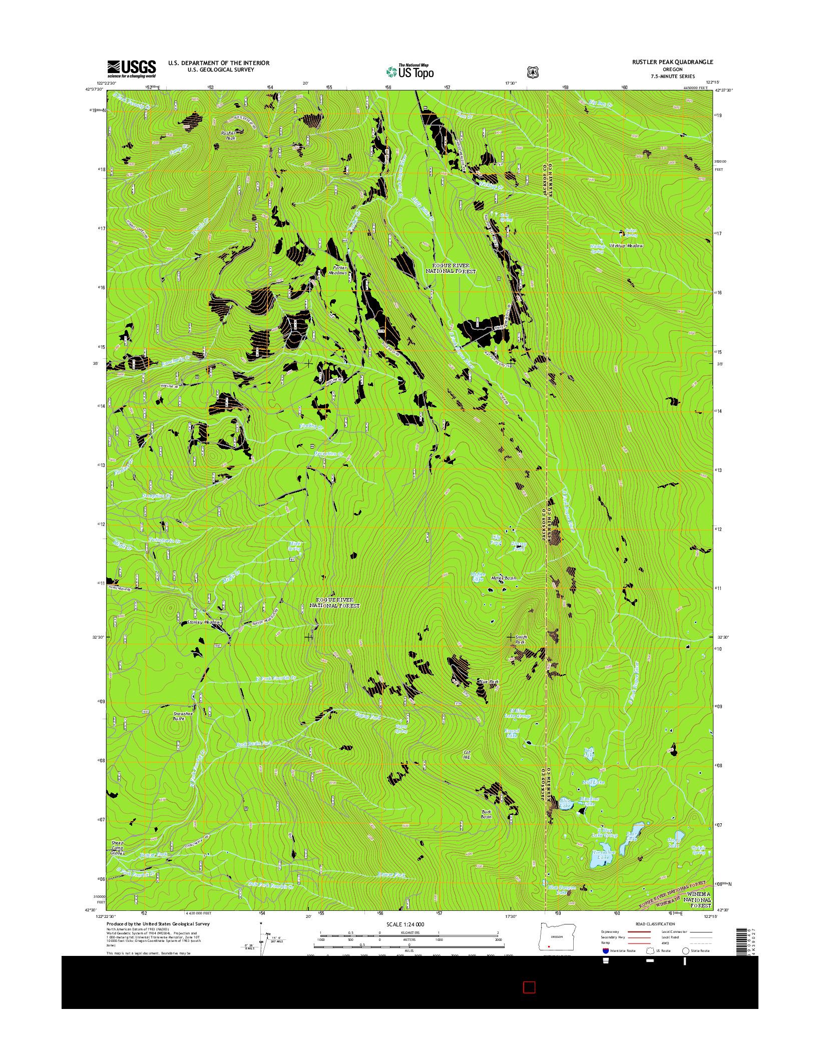 USGS US TOPO 7.5-MINUTE MAP FOR RUSTLER PEAK, OR 2014