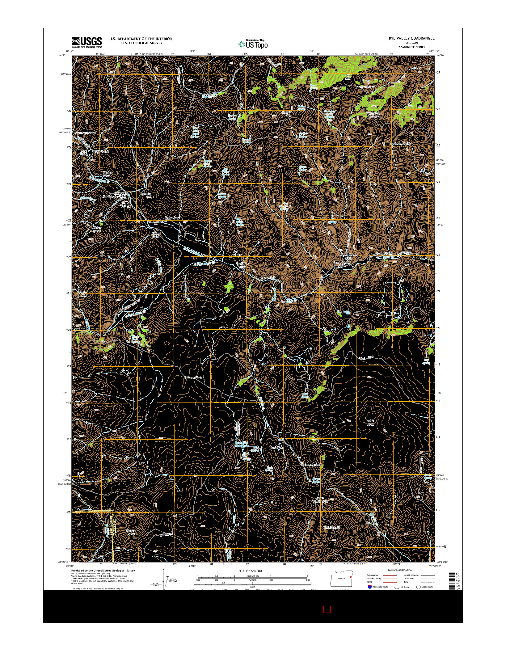 USGS US TOPO 7.5-MINUTE MAP FOR RYE VALLEY, OR 2014