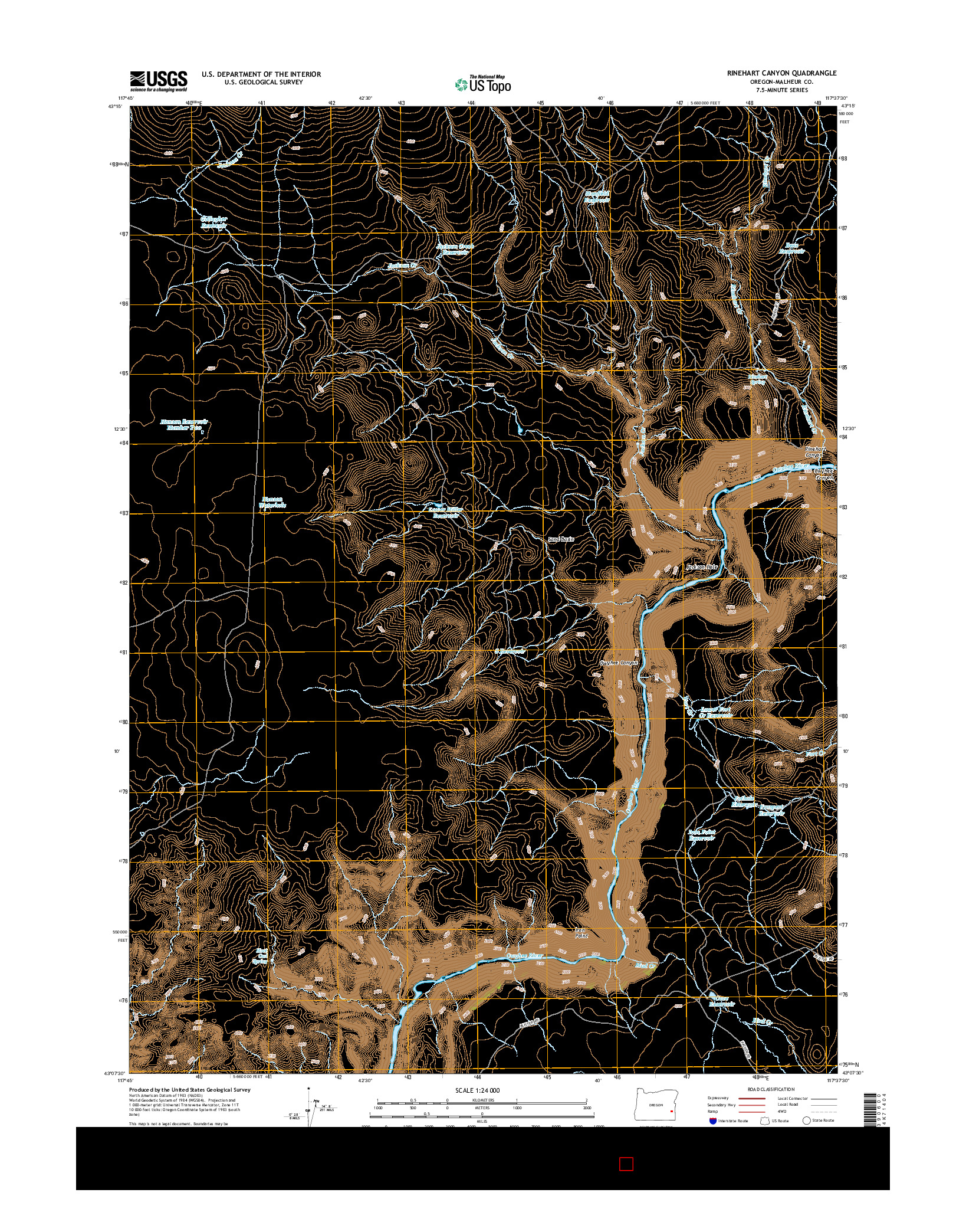 USGS US TOPO 7.5-MINUTE MAP FOR RINEHART CANYON, OR 2014