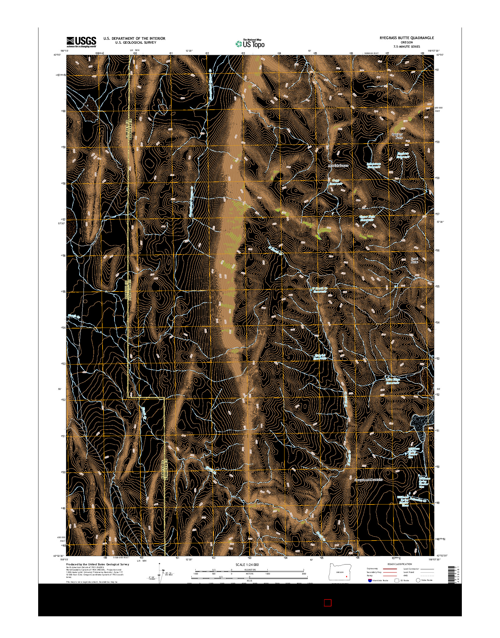 USGS US TOPO 7.5-MINUTE MAP FOR RYEGRASS BUTTE, OR 2014