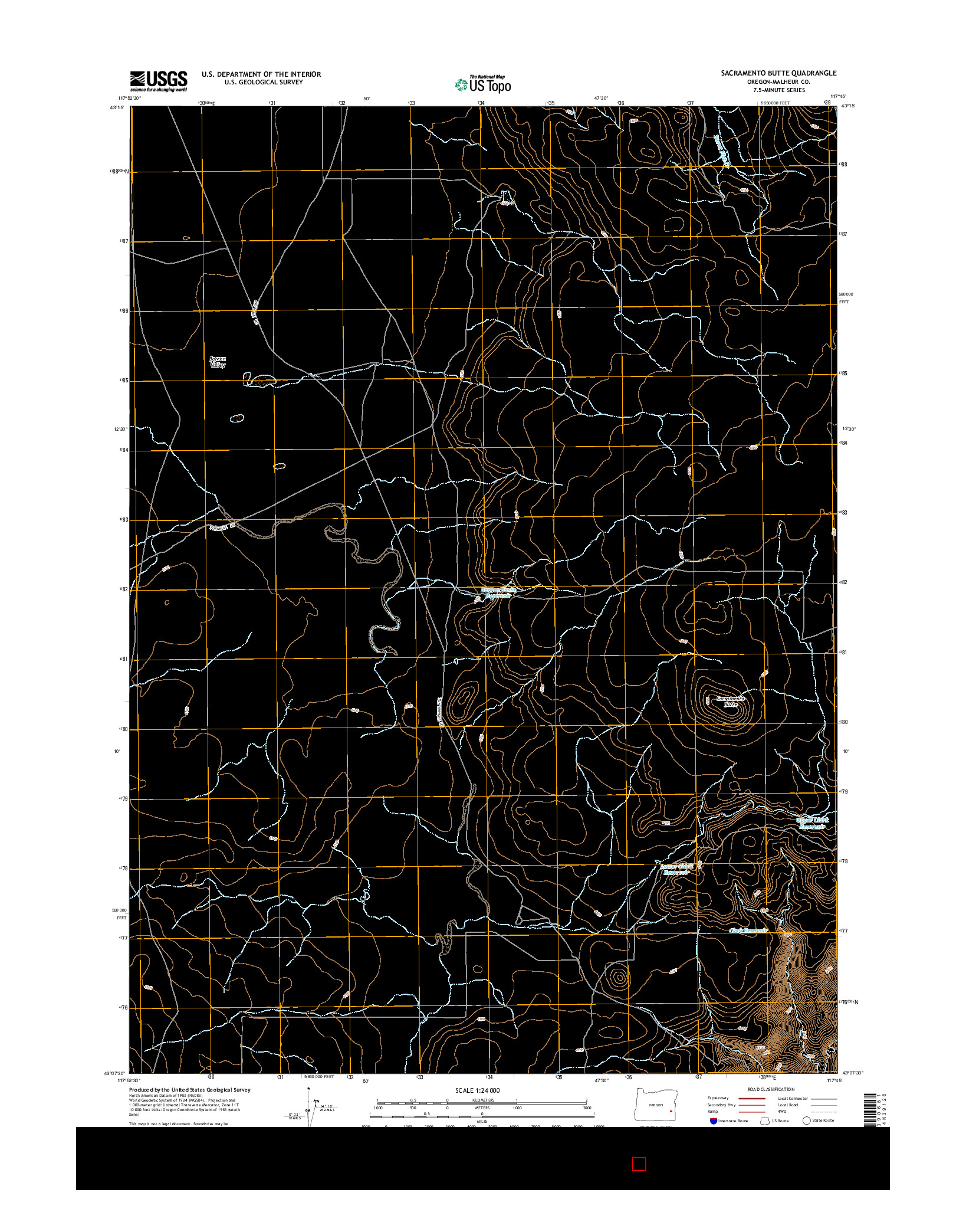 USGS US TOPO 7.5-MINUTE MAP FOR SACRAMENTO BUTTE, OR 2014