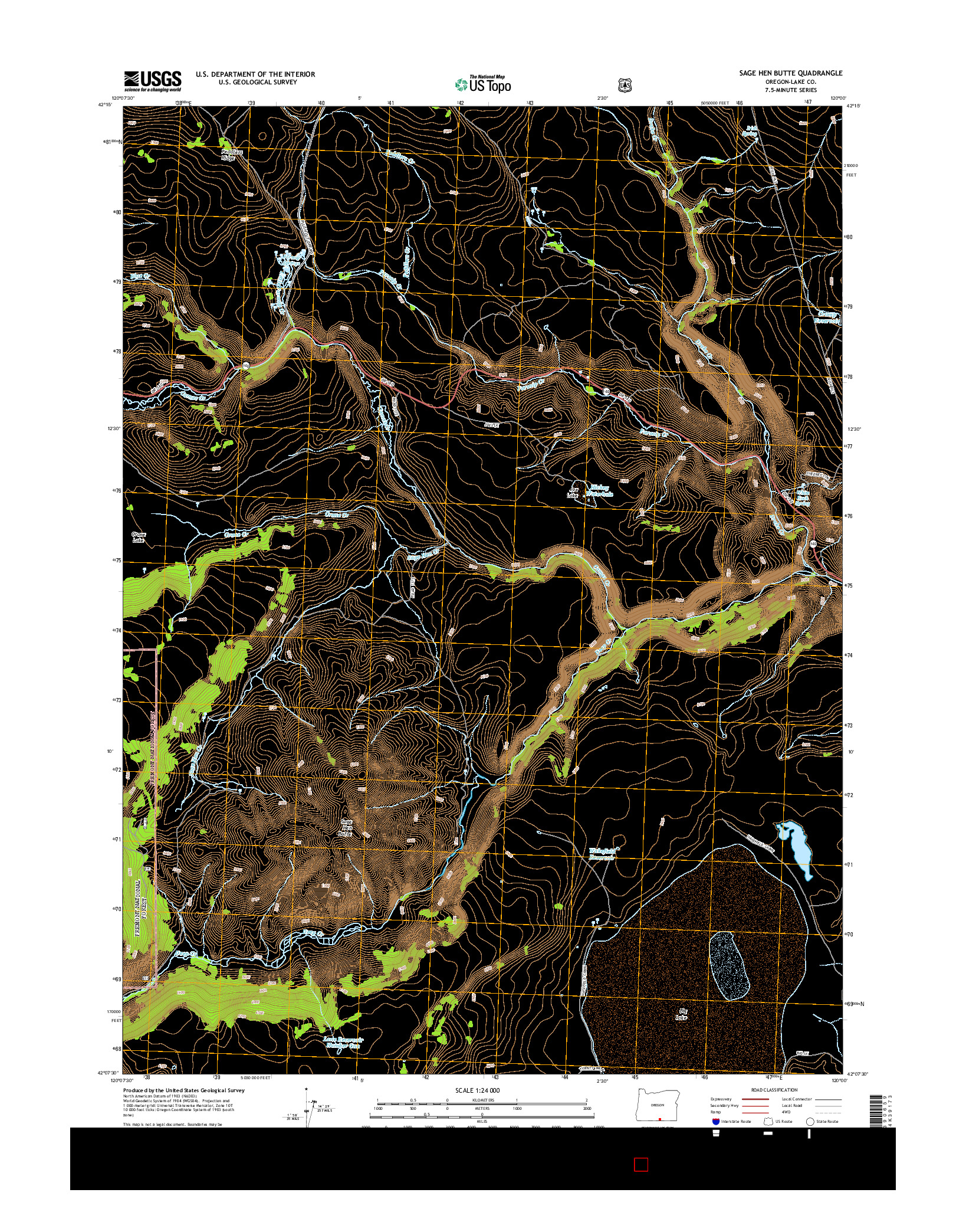 USGS US TOPO 7.5-MINUTE MAP FOR SAGE HEN BUTTE, OR 2014