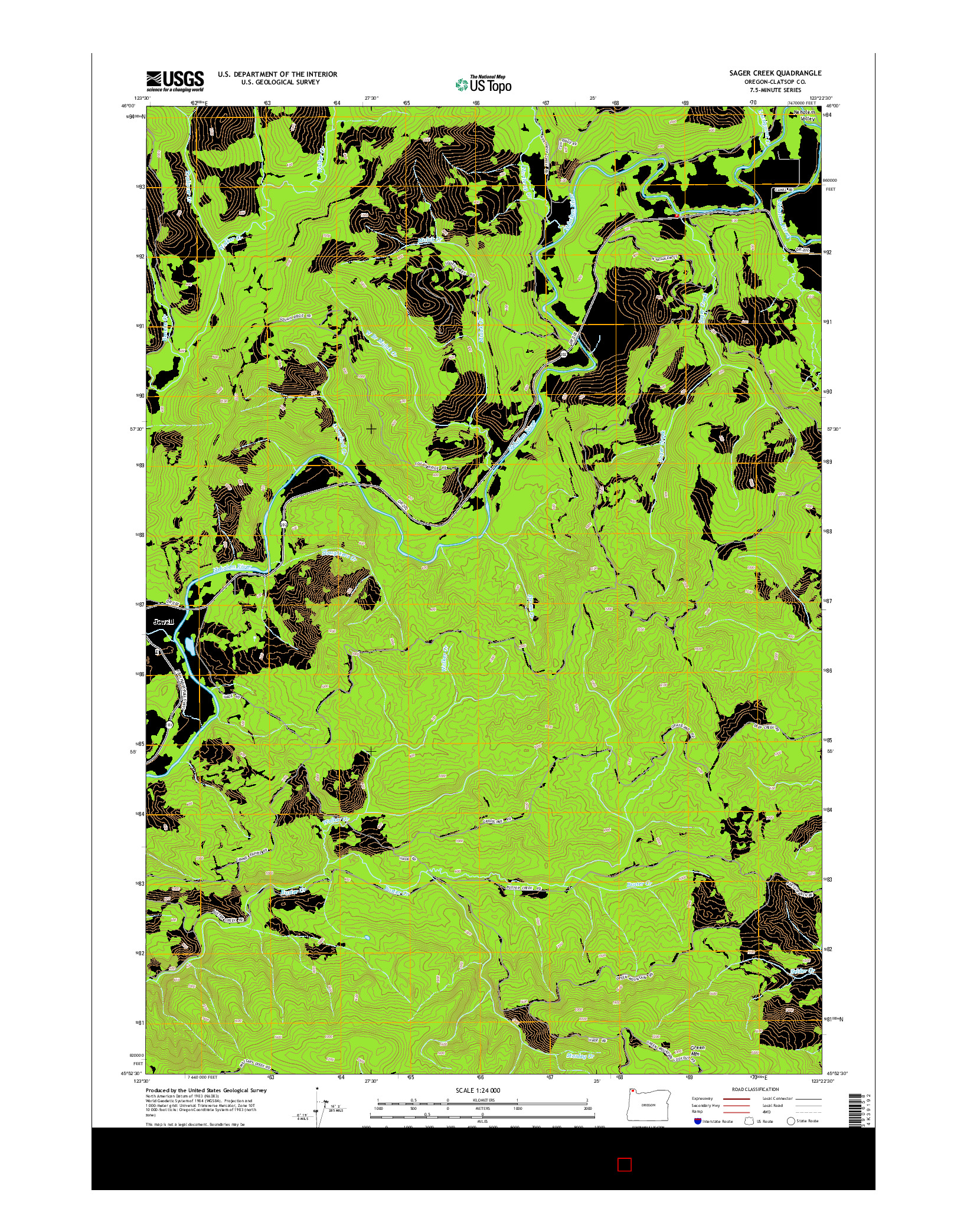USGS US TOPO 7.5-MINUTE MAP FOR SAGER CREEK, OR 2014