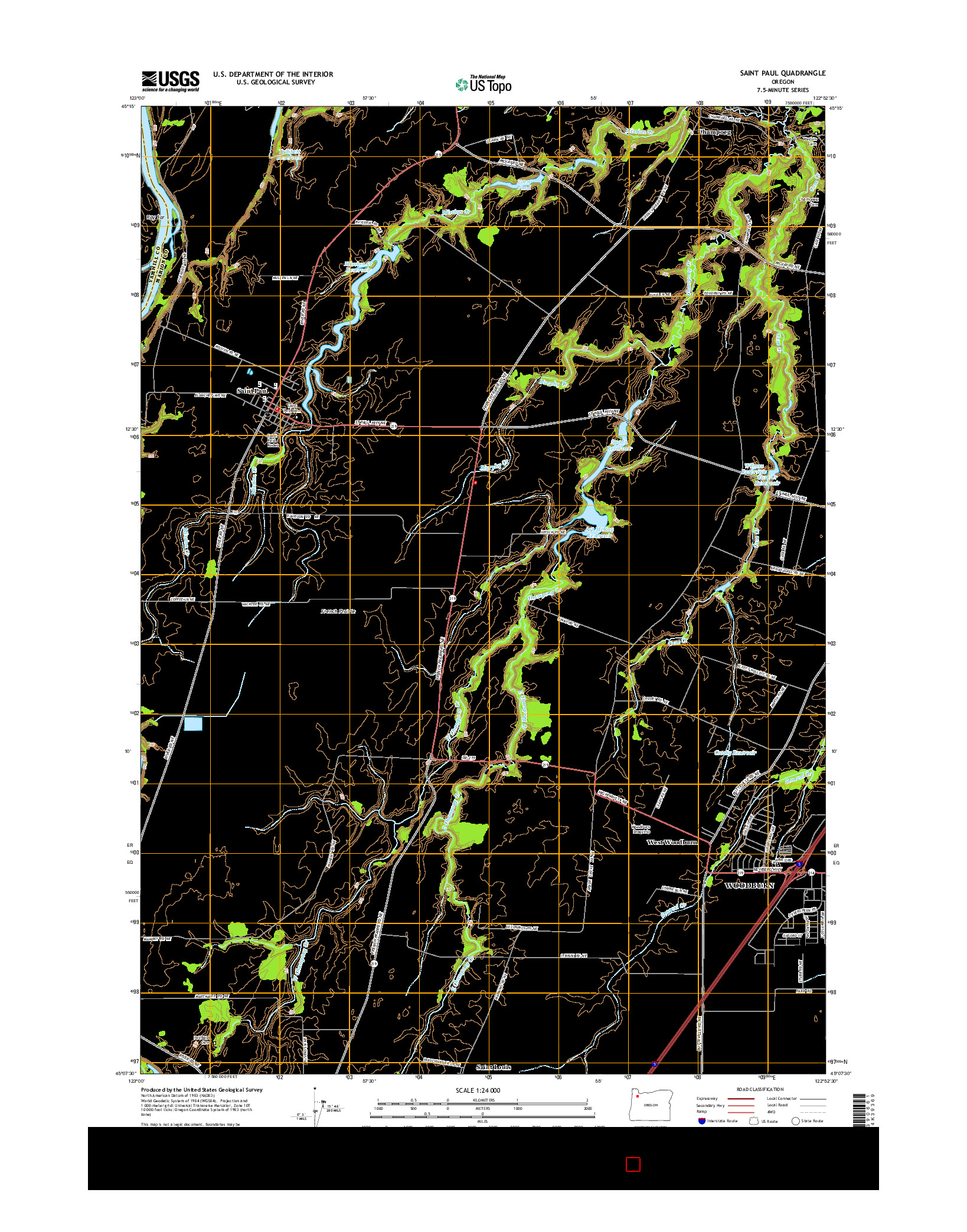 USGS US TOPO 7.5-MINUTE MAP FOR SAINT PAUL, OR 2014
