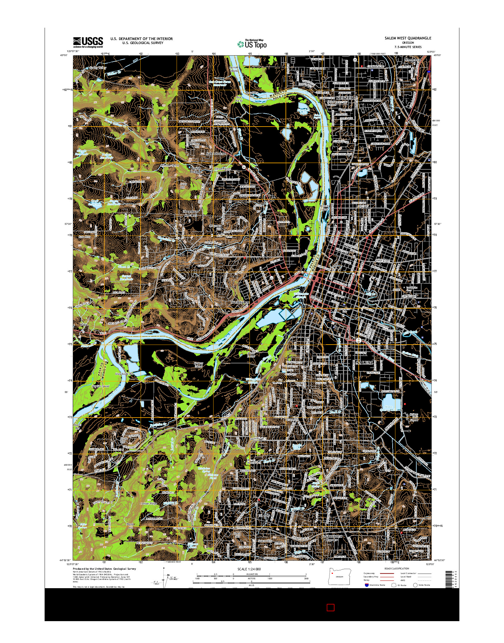 USGS US TOPO 7.5-MINUTE MAP FOR SALEM WEST, OR 2014