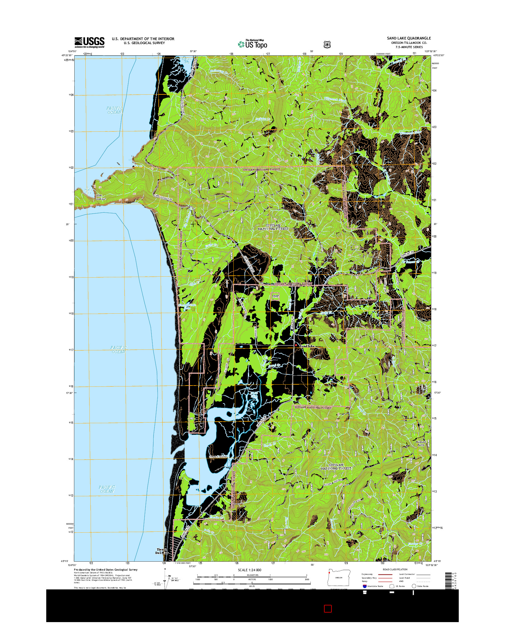 USGS US TOPO 7.5-MINUTE MAP FOR SAND LAKE, OR 2014