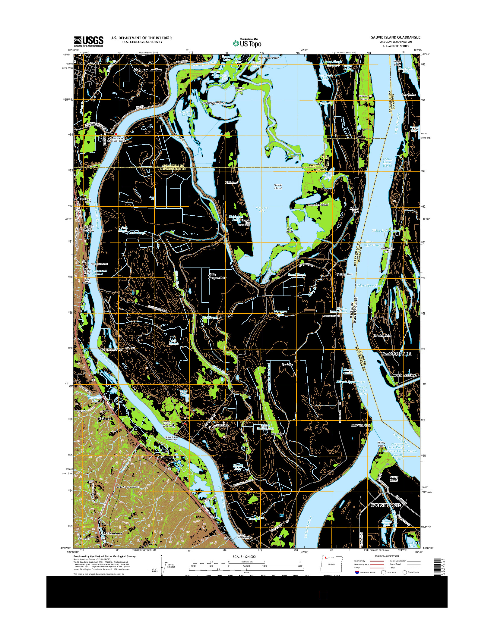USGS US TOPO 7.5-MINUTE MAP FOR SAUVIE ISLAND, OR-WA 2014