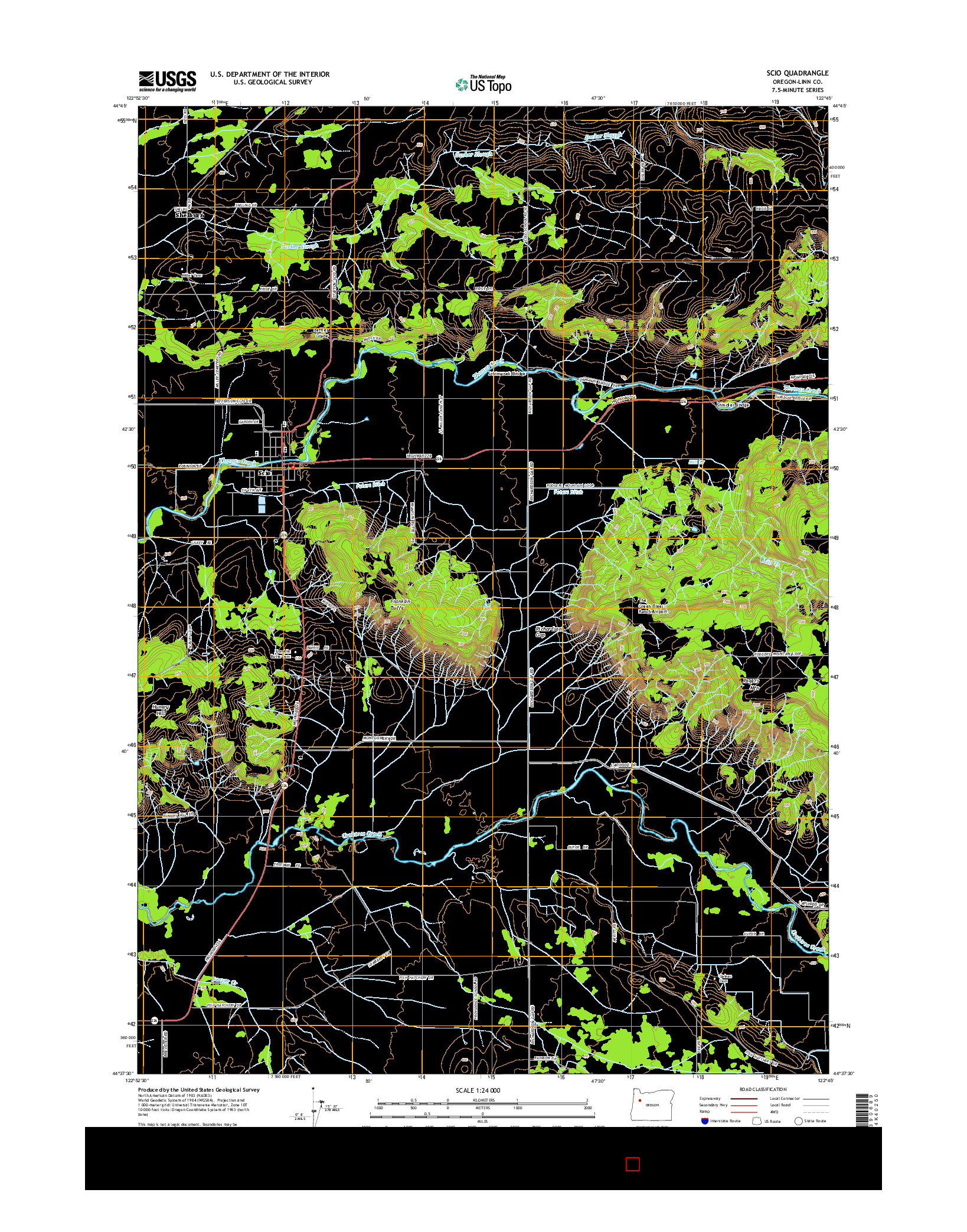 USGS US TOPO 7.5-MINUTE MAP FOR SCIO, OR 2014