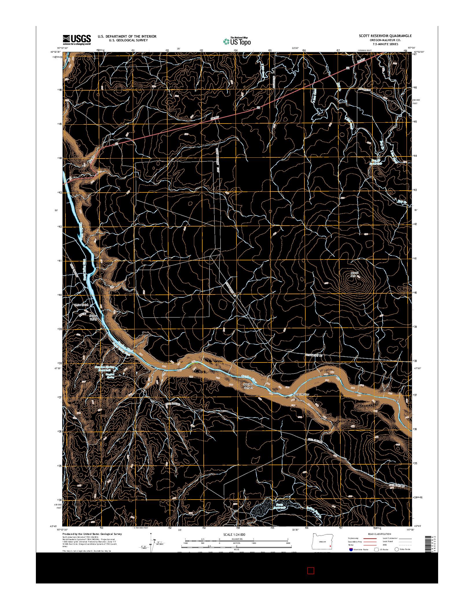 USGS US TOPO 7.5-MINUTE MAP FOR SCOTT RESERVOIR, OR 2014