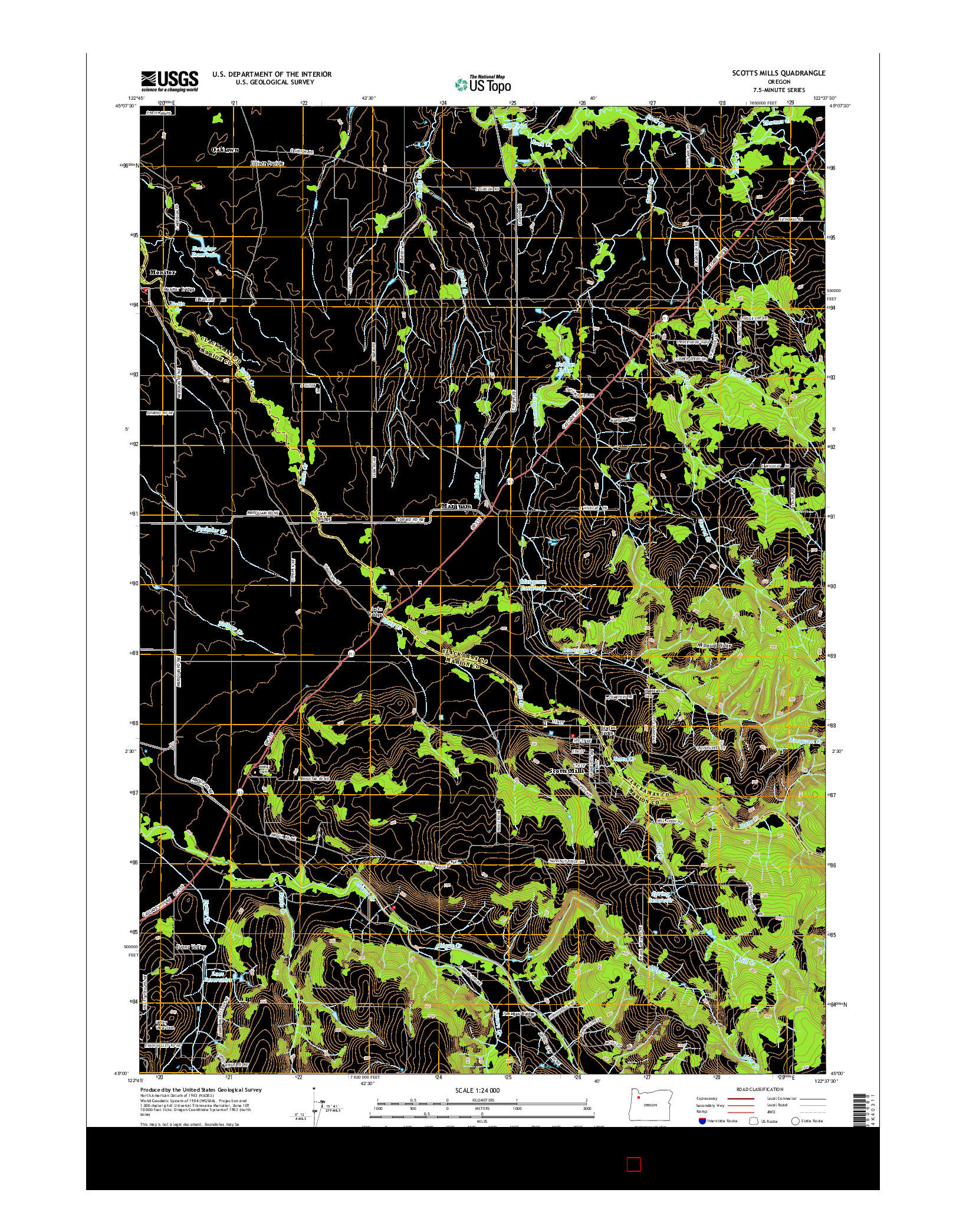 USGS US TOPO 7.5-MINUTE MAP FOR SCOTTS MILLS, OR 2014