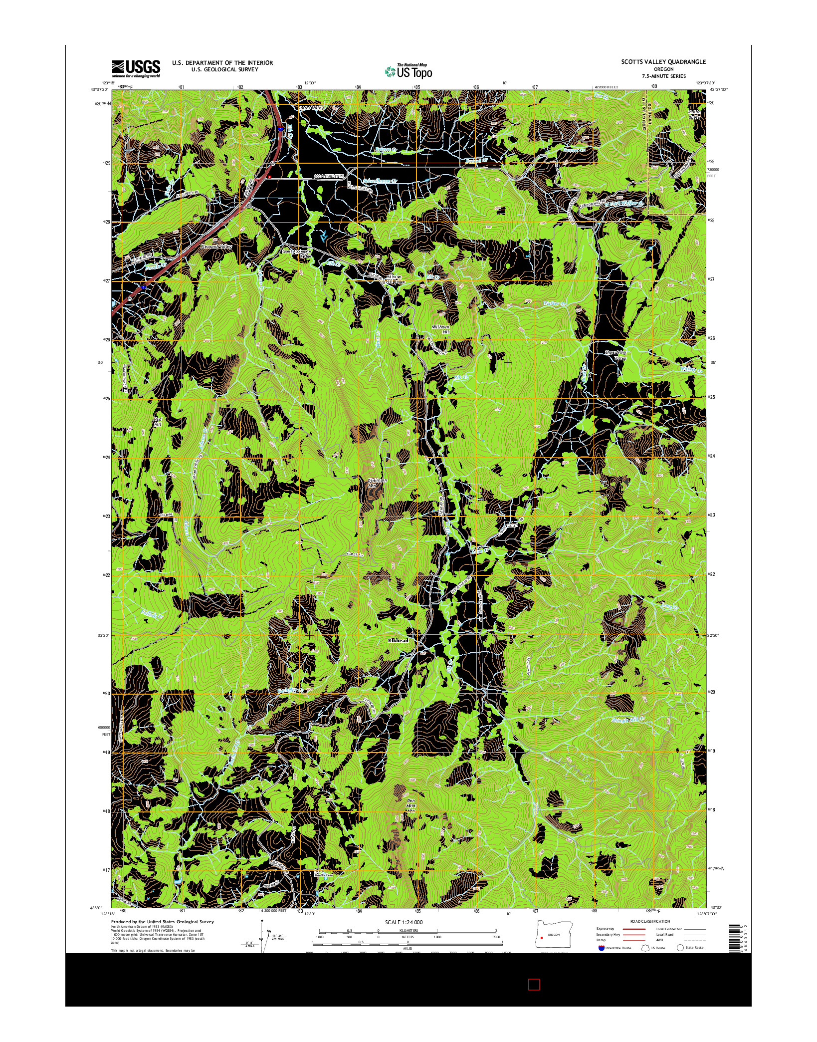 USGS US TOPO 7.5-MINUTE MAP FOR SCOTTS VALLEY, OR 2014
