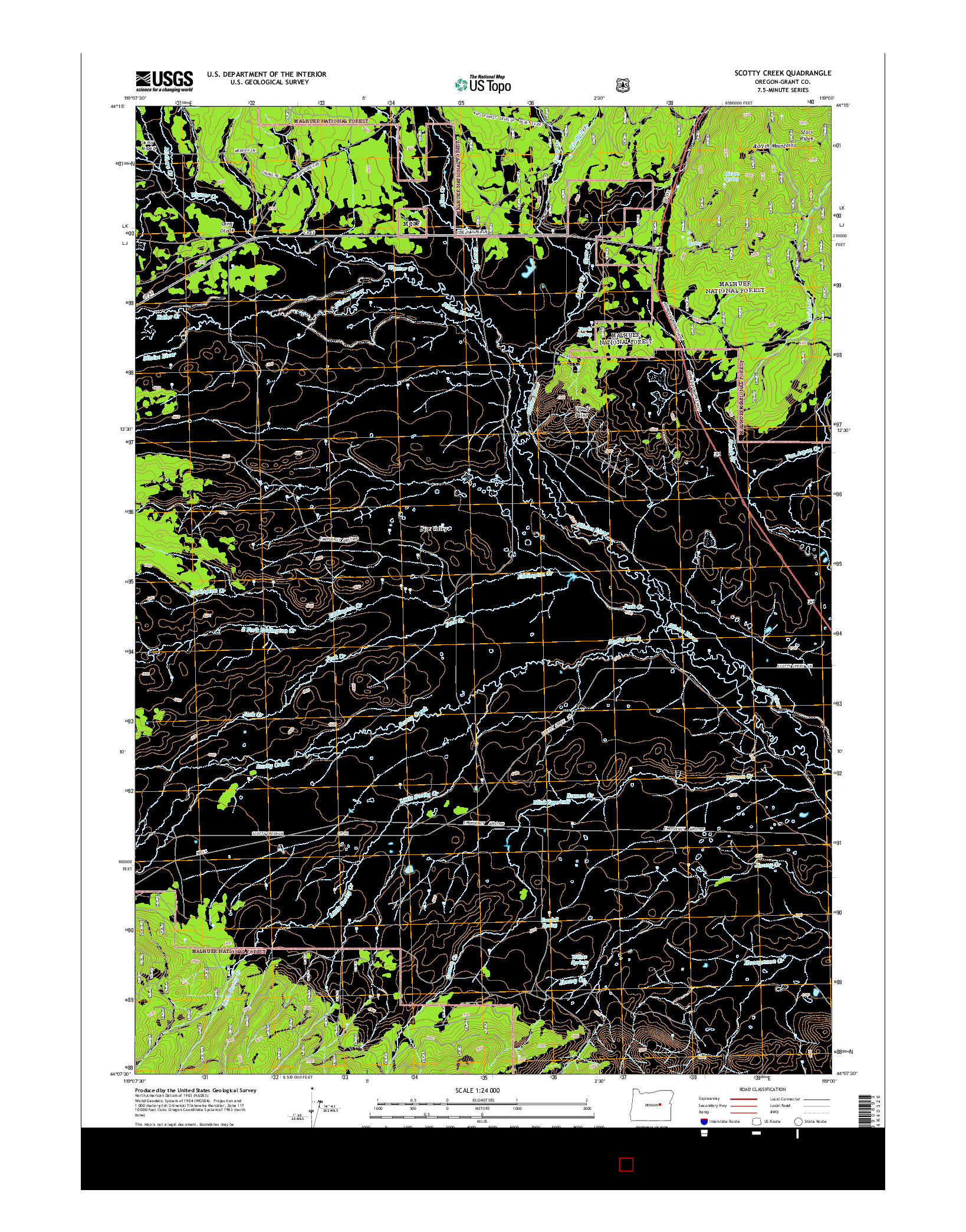 USGS US TOPO 7.5-MINUTE MAP FOR SCOTTY CREEK, OR 2014
