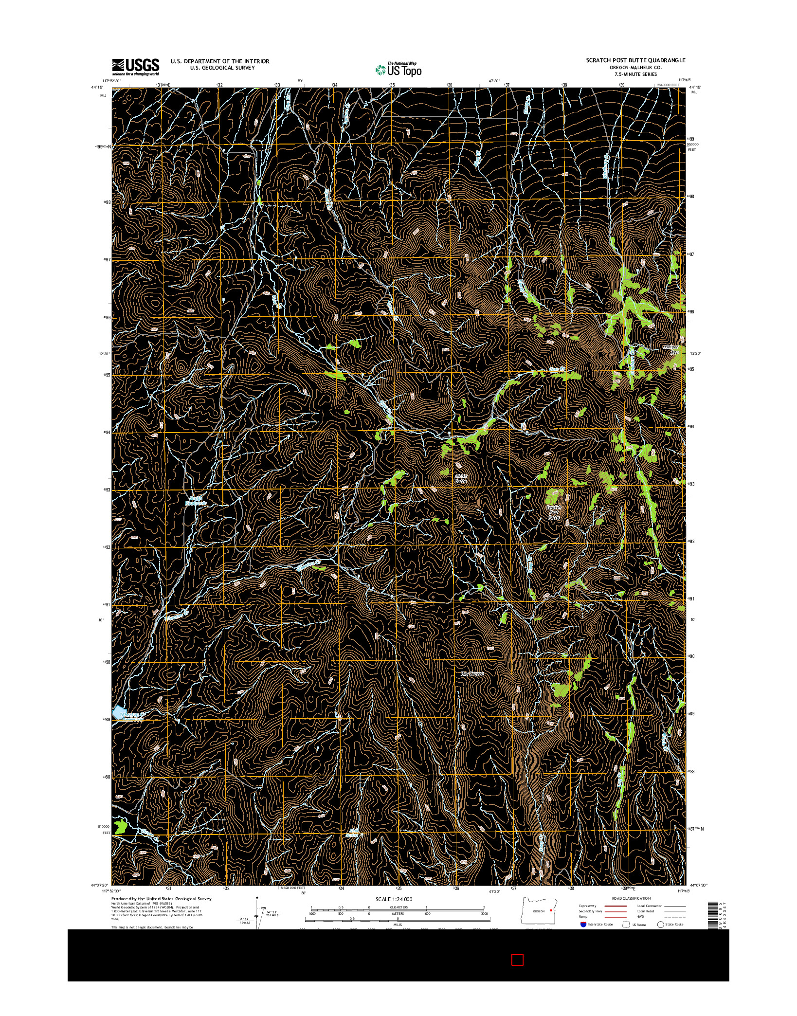 USGS US TOPO 7.5-MINUTE MAP FOR SCRATCH POST BUTTE, OR 2014