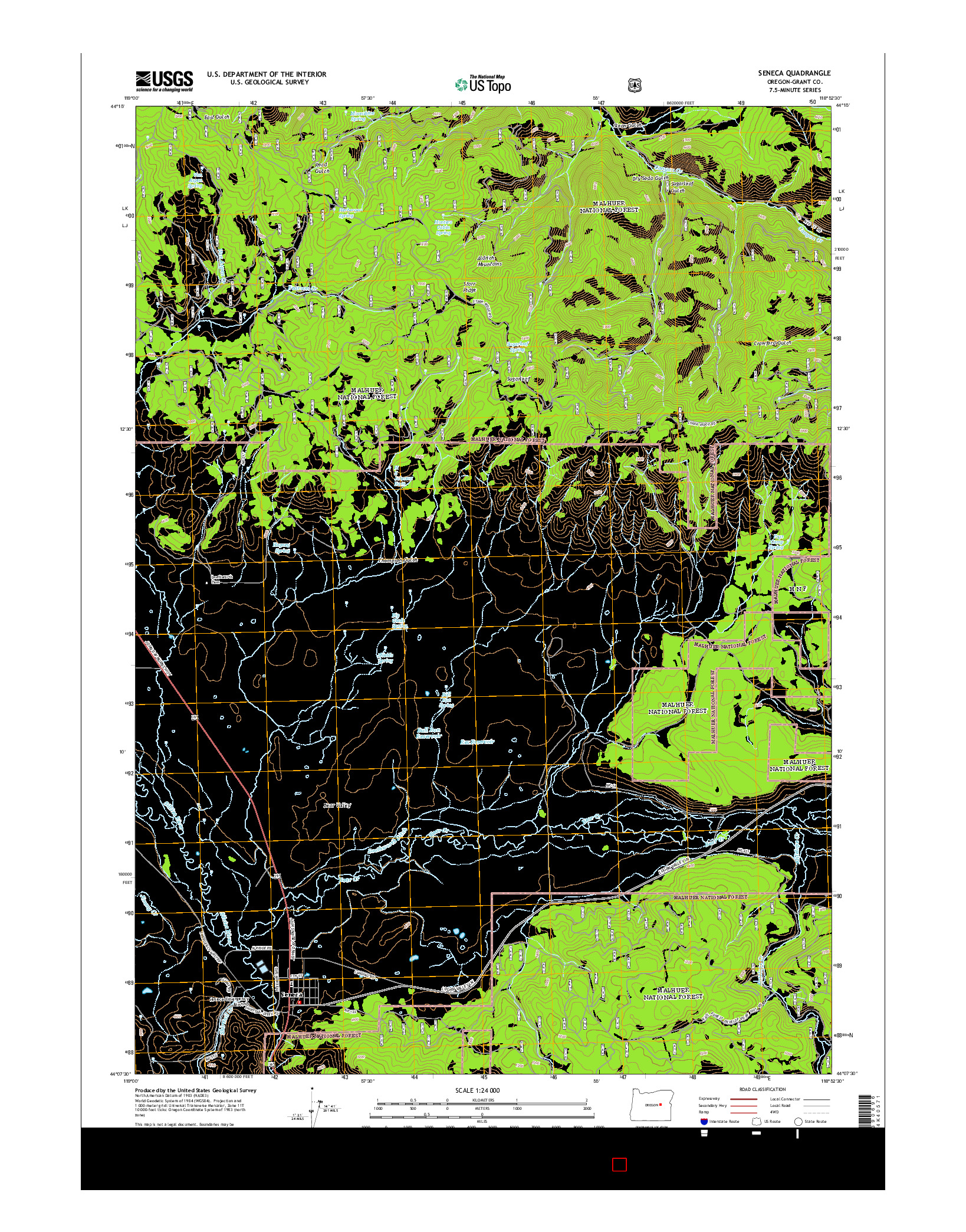 USGS US TOPO 7.5-MINUTE MAP FOR SENECA, OR 2014