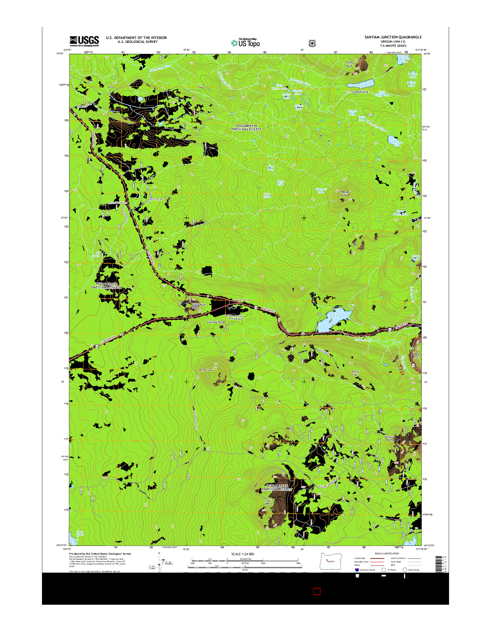 USGS US TOPO 7.5-MINUTE MAP FOR SANTIAM JUNCTION, OR 2014