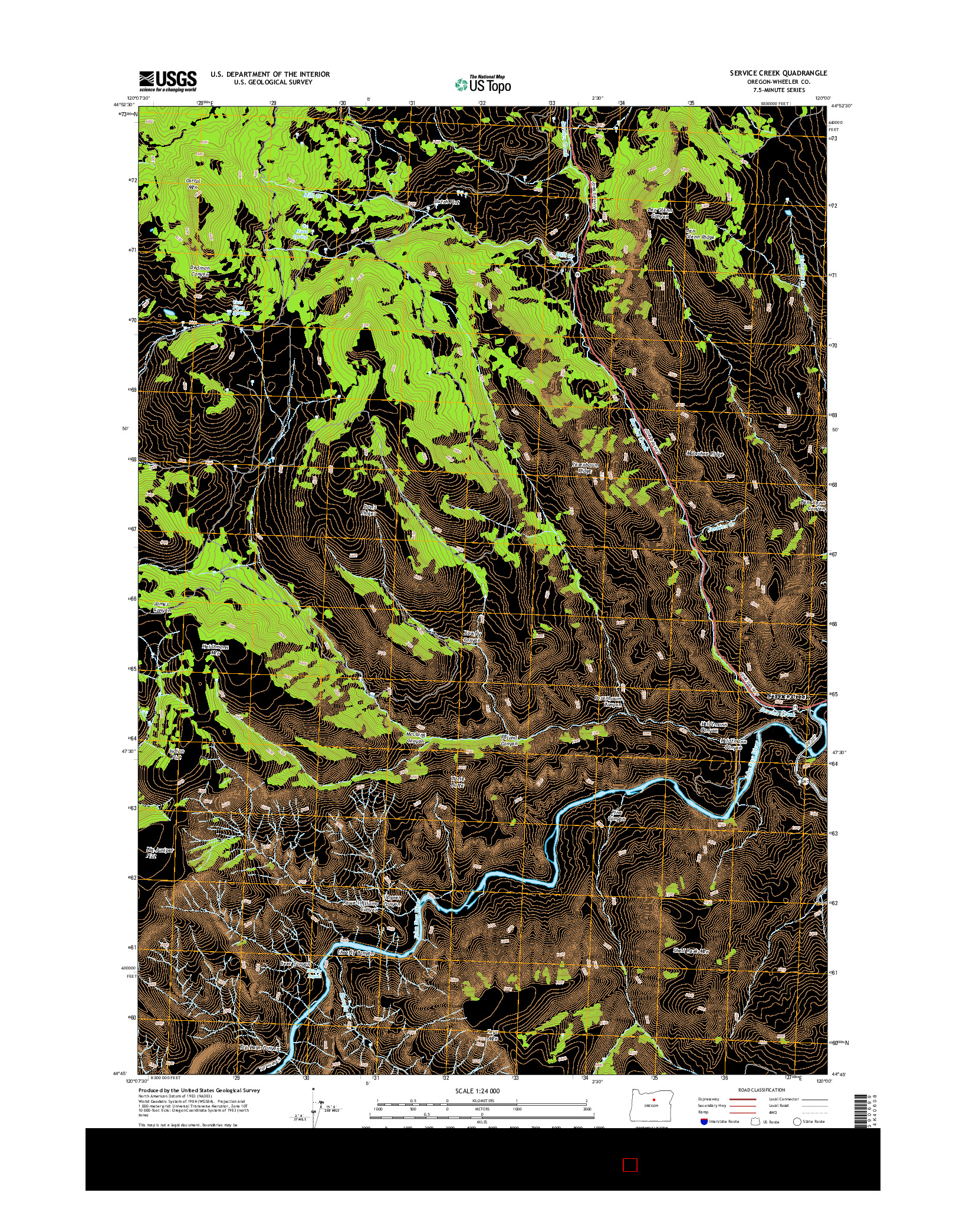 USGS US TOPO 7.5-MINUTE MAP FOR SERVICE CREEK, OR 2014