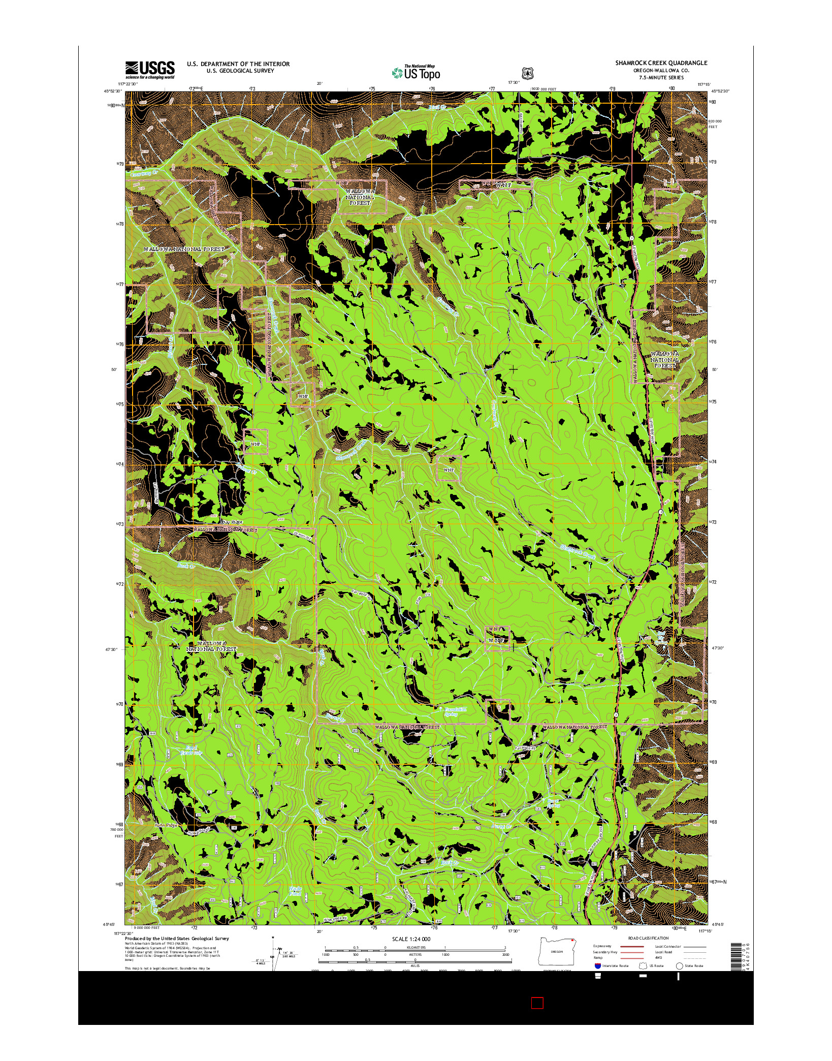 USGS US TOPO 7.5-MINUTE MAP FOR SHAMROCK CREEK, OR 2014