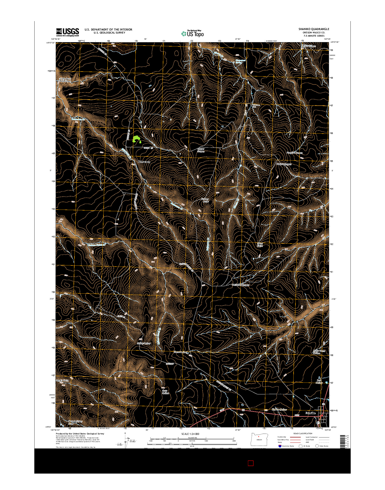USGS US TOPO 7.5-MINUTE MAP FOR SHANIKO, OR 2014